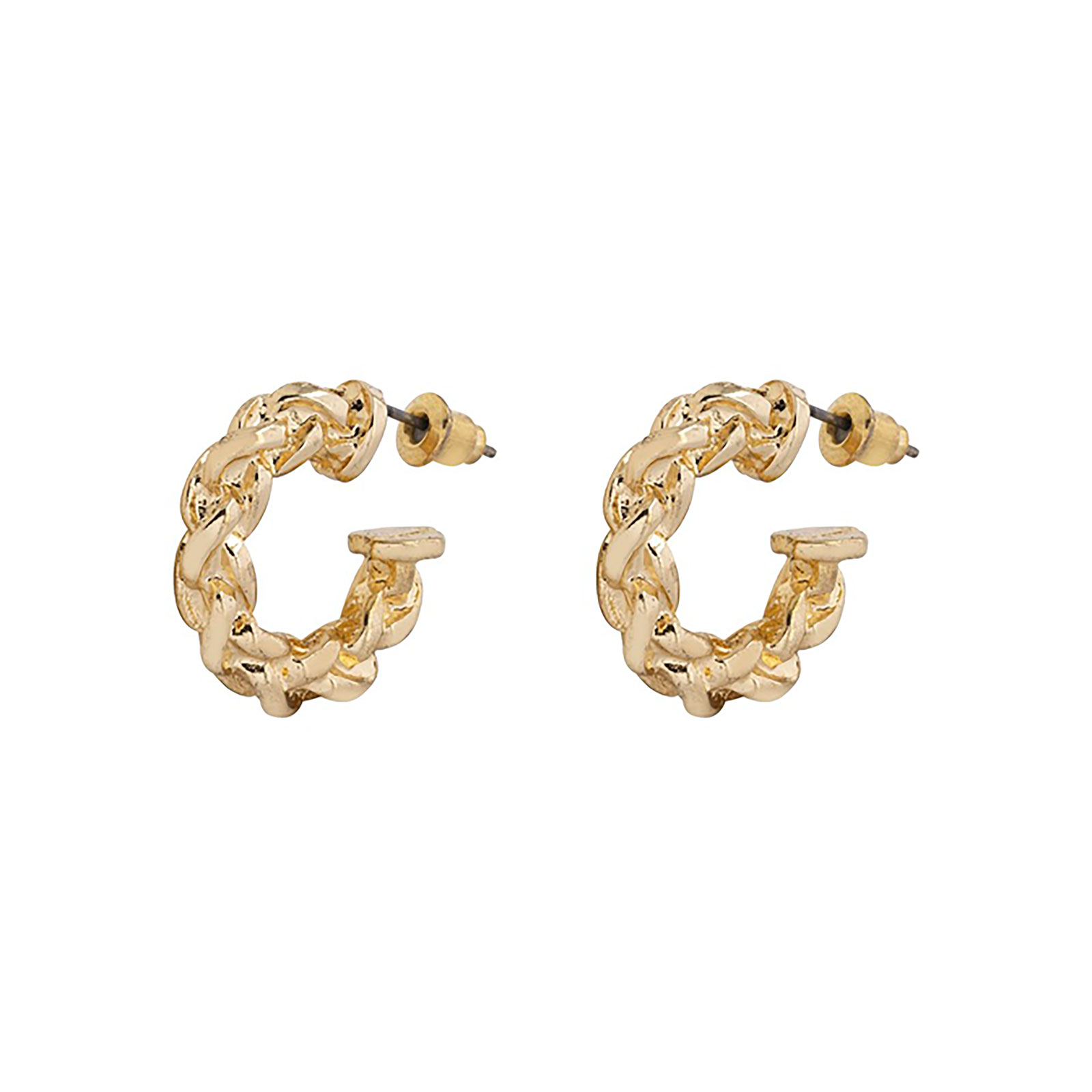 Guldfärgade örhängen - vridna creoler 20 mm