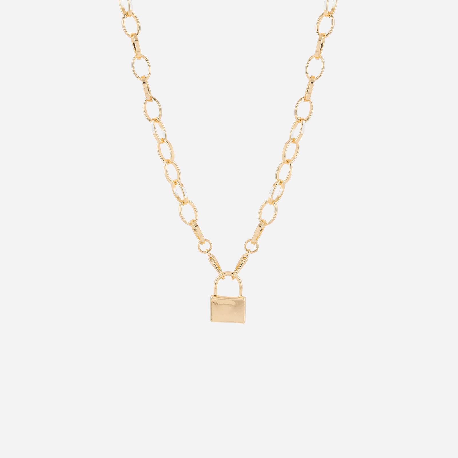 Halsband - Guldfärgad kedja med hänglås