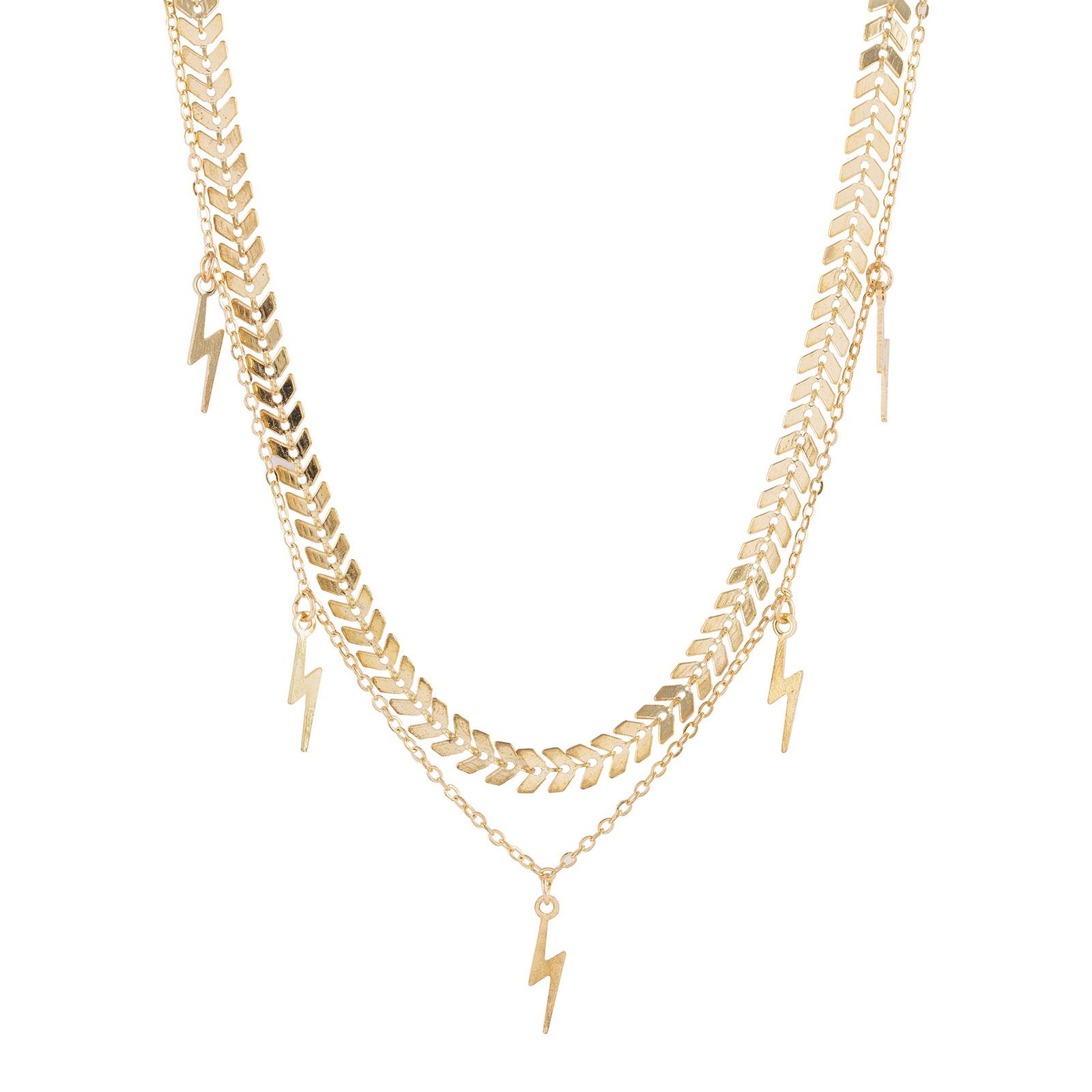 Guldfärgat halsband med blixtar