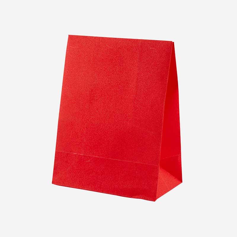 Presentpåse röd glitter - 17x13 cm