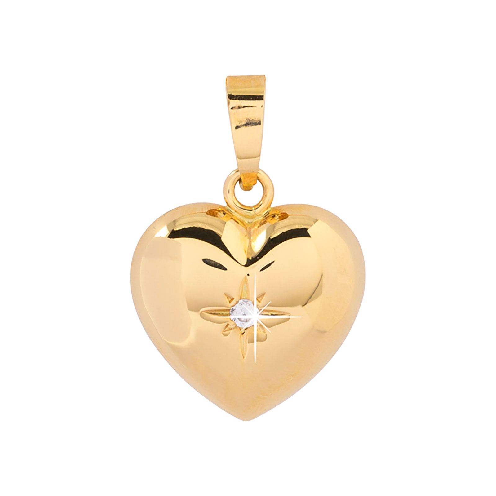 Berlock 18k guld - Hjärta Kubisk Zirkonia 14 mm