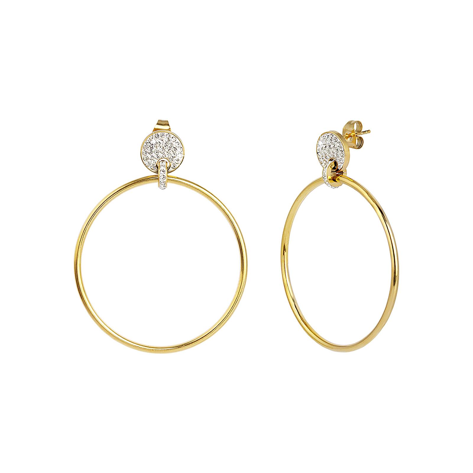 Örhängen i stål - guldfärgade ringar med vita stenar