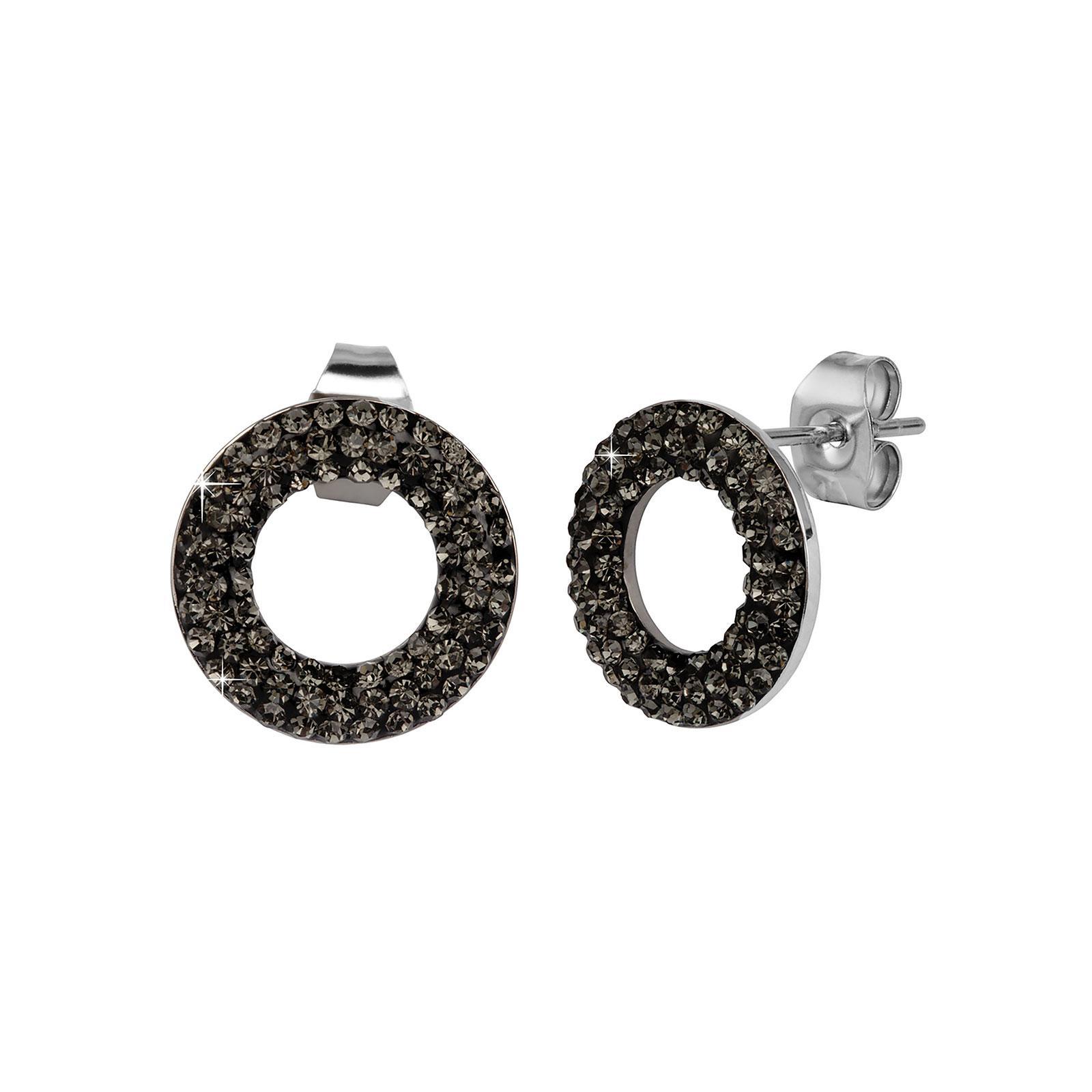 Örhängen i stål - ringar med svarta stenar