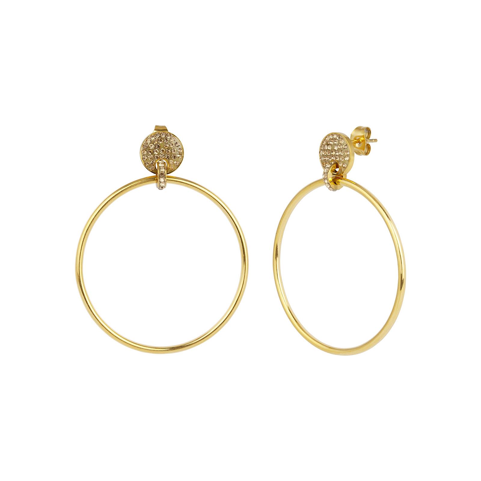 Örhängen i stål - guldfärgade ringar med stenar