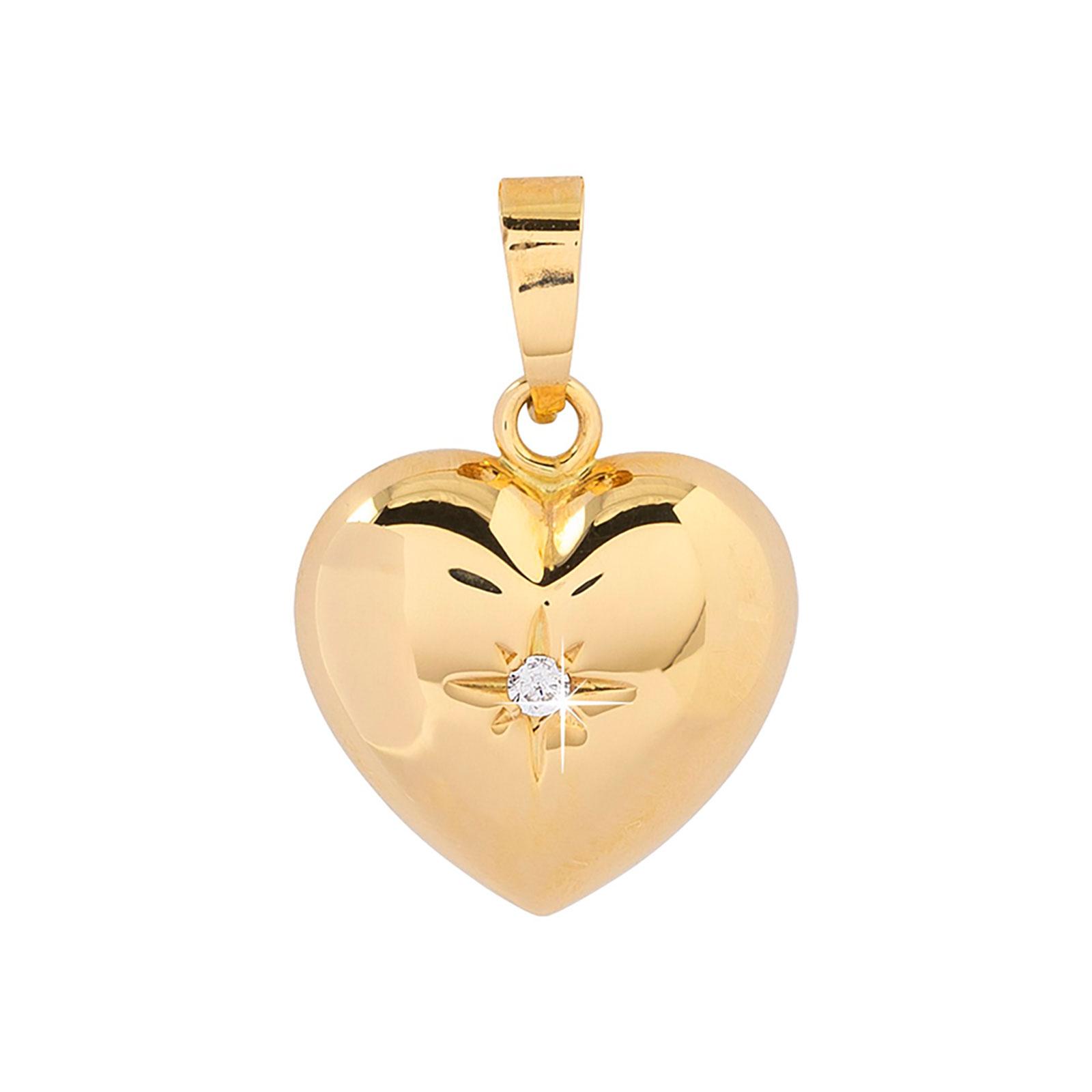 Berlock 18k guld - Hjärta Kubisk Zirkonia 12 mm