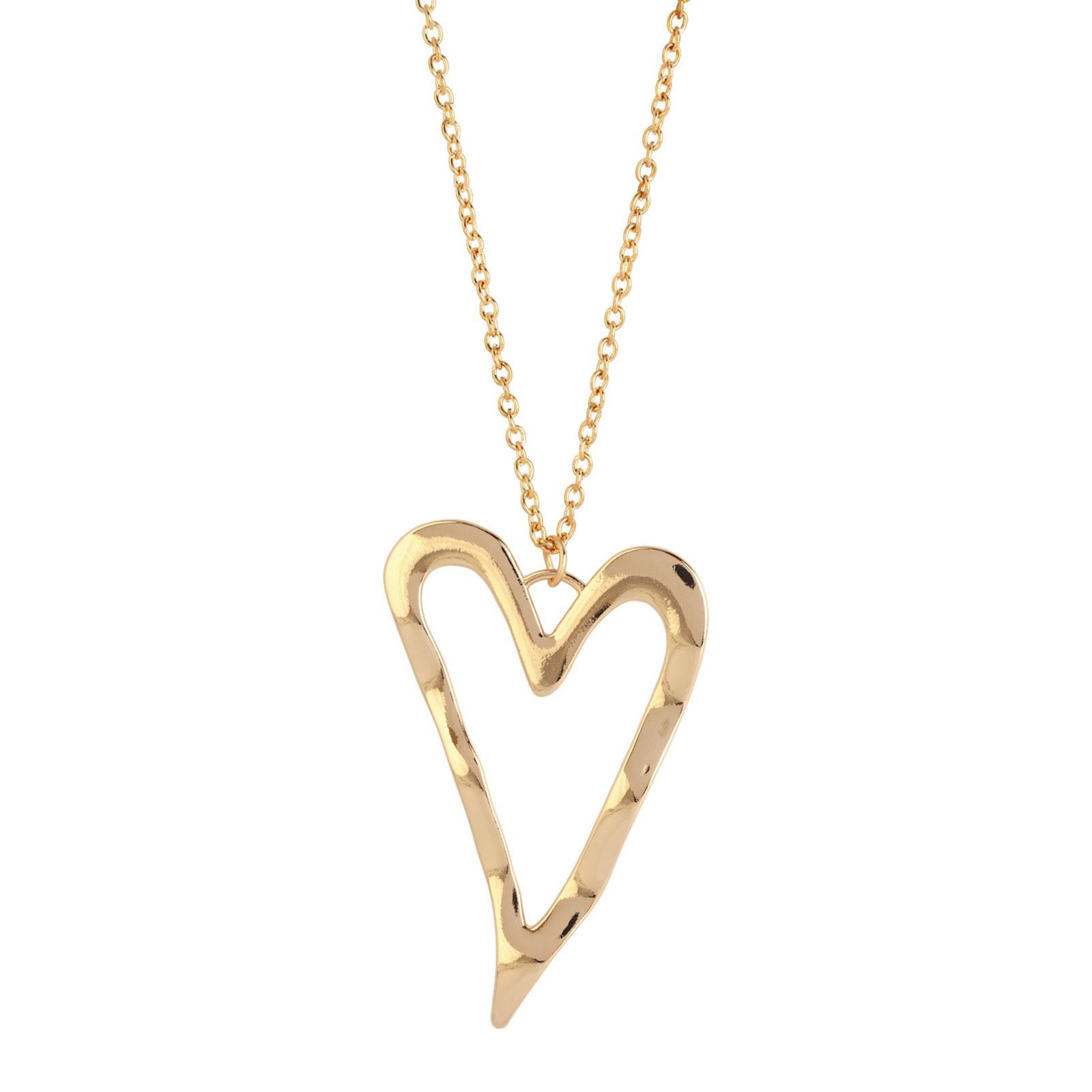Halsband guldfärgat dam - hamrat hjärta