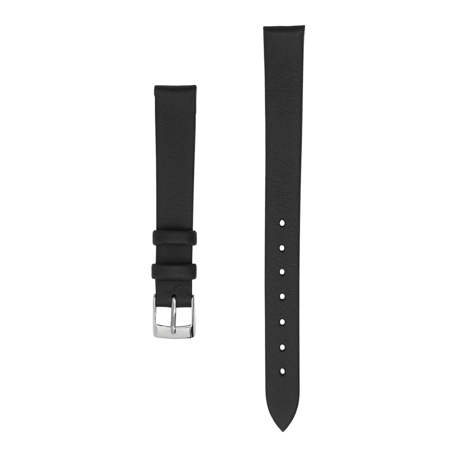 Klockarmband 12 mm - svart läder