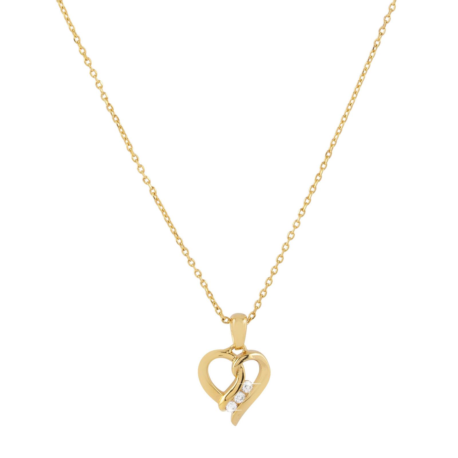 Guldpläterat halsband med hjärta 42 cm