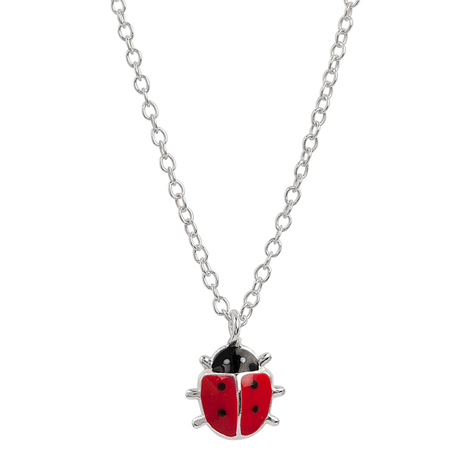 Halsband för barn i Sterling Silver -Nyckelpiga