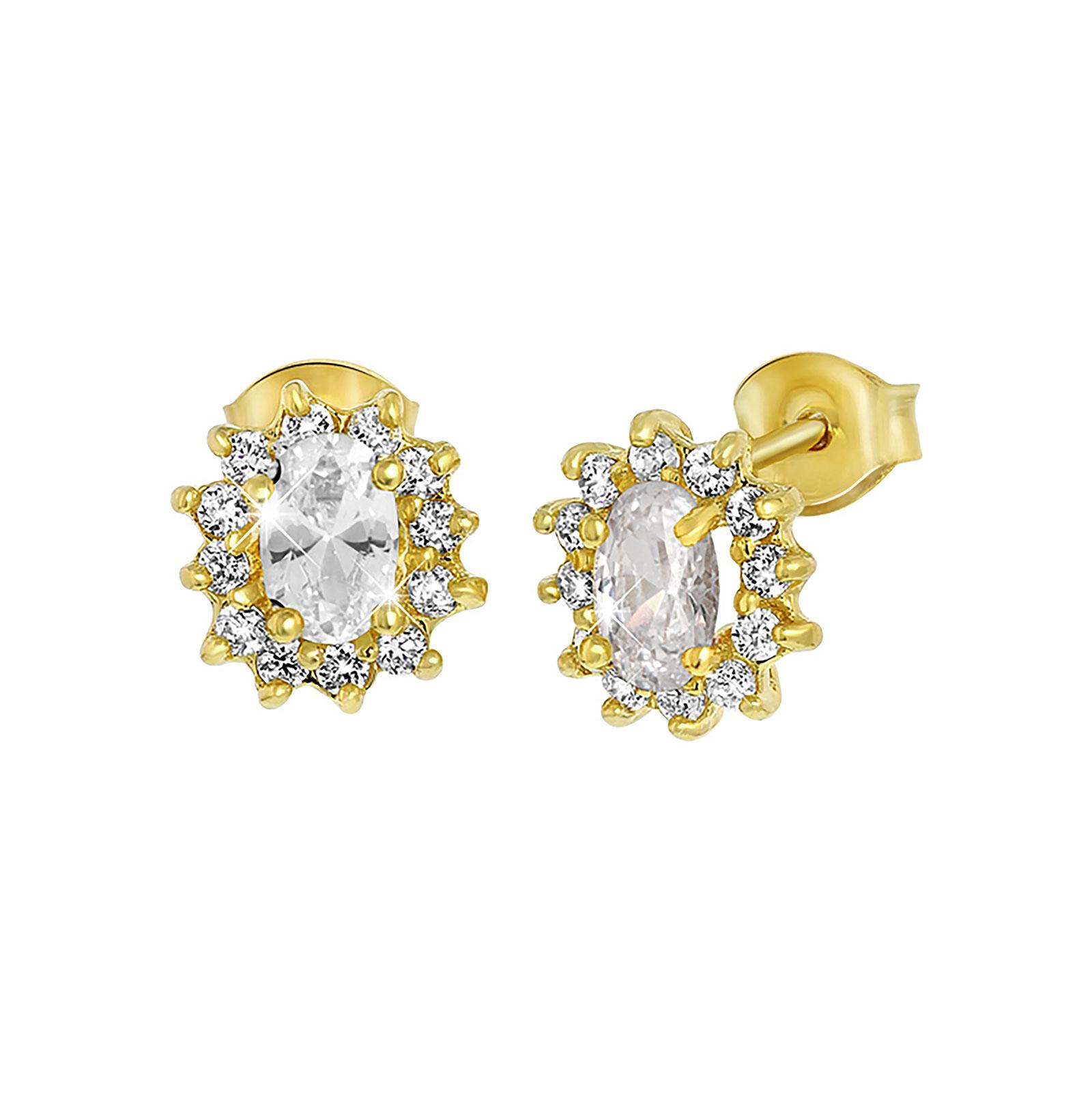 Guldpläterade örhängen med vita stenar