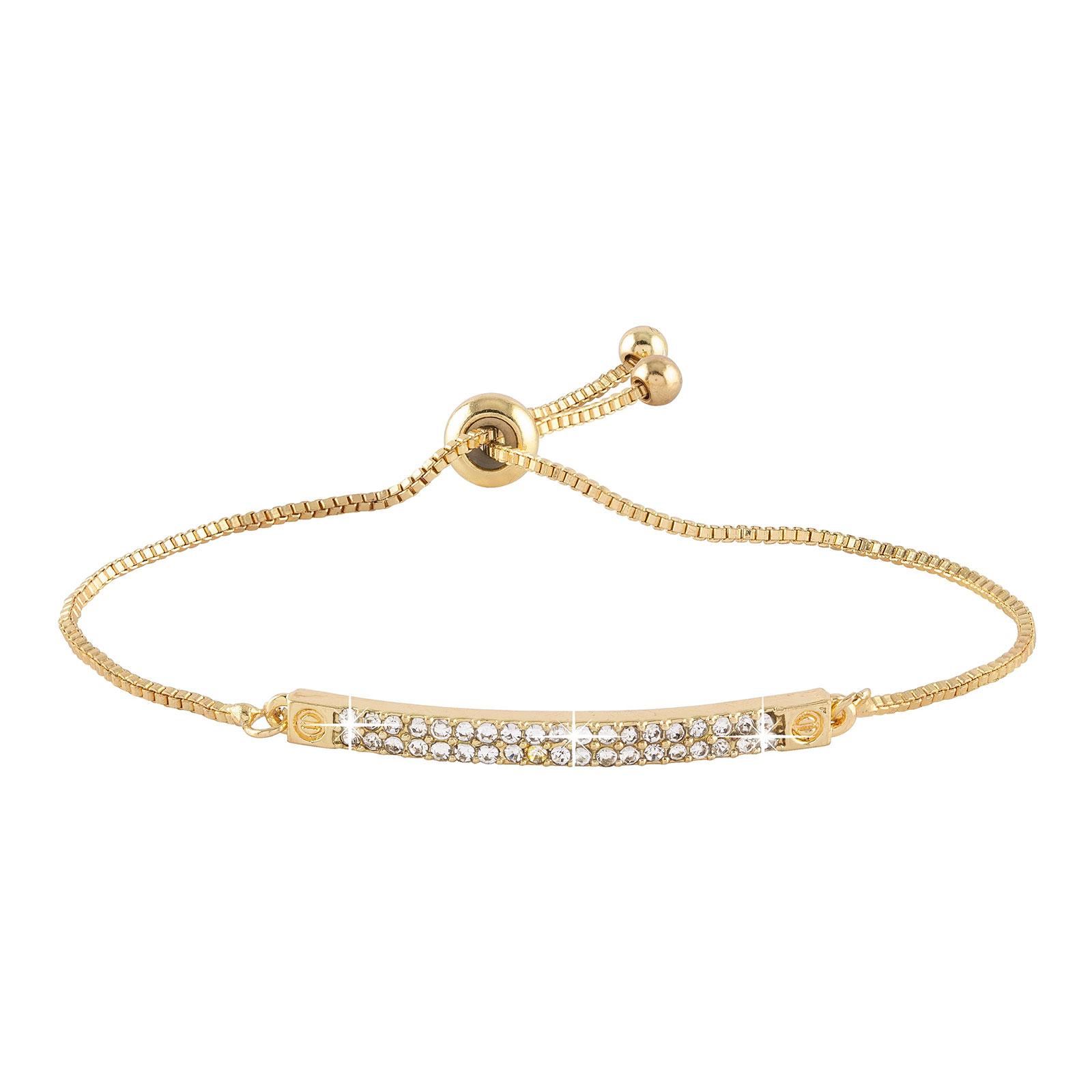 Armband - guldfärgat med vita stenar