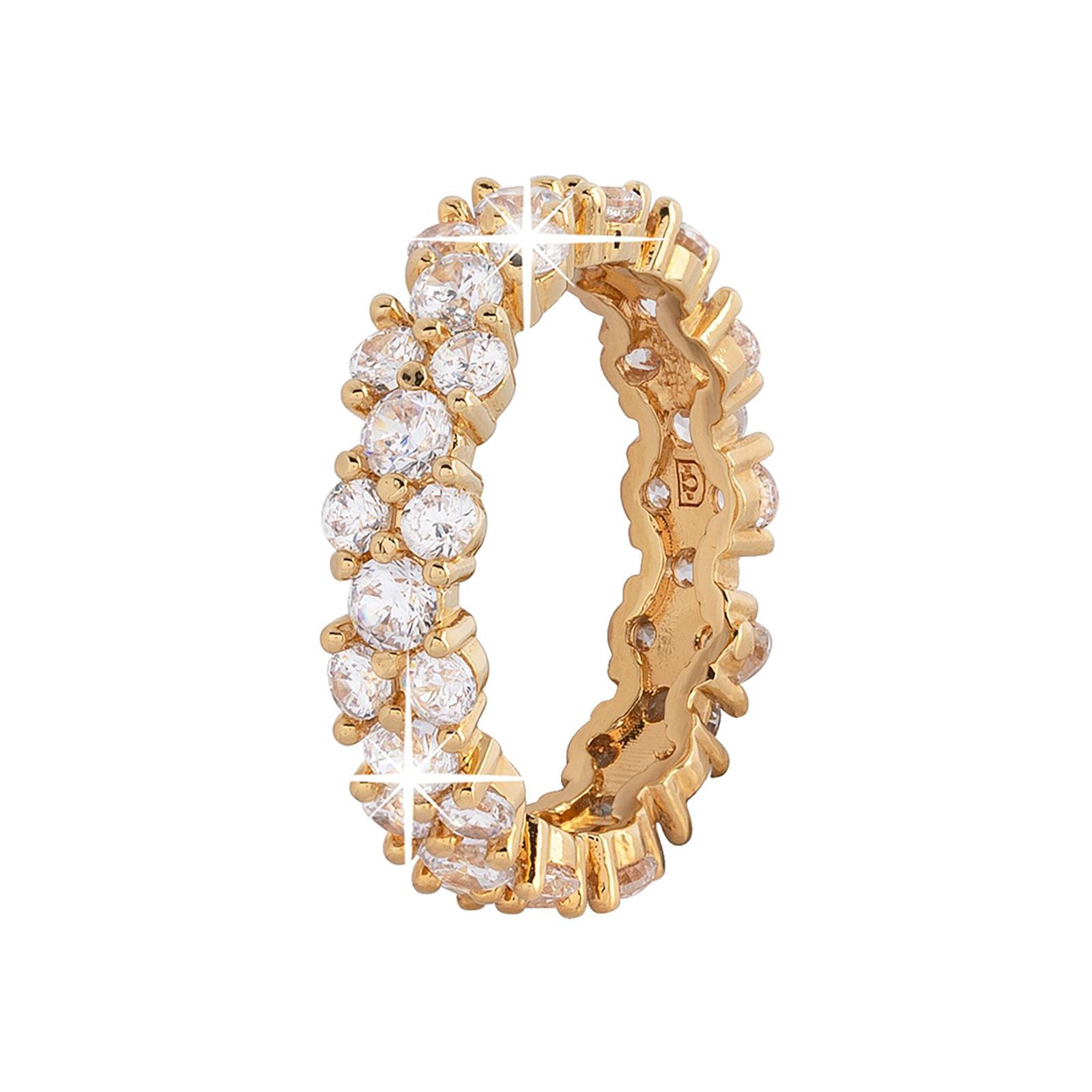 Guldpläterad ring -mönstrad med Kubisk Zirkonia