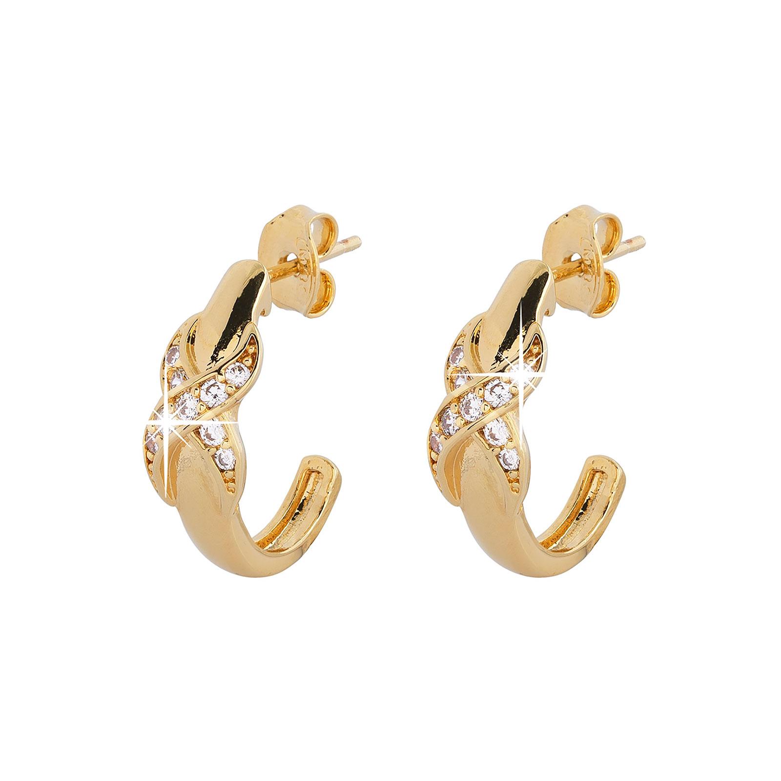 Guldpläterade örhängen - halvcreoler med Kubisk Zirkonia