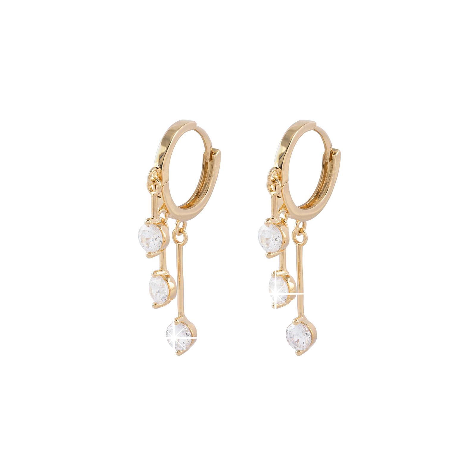 Guldpläterade örhängen - hoops med hängande Kubisk Zirkonia