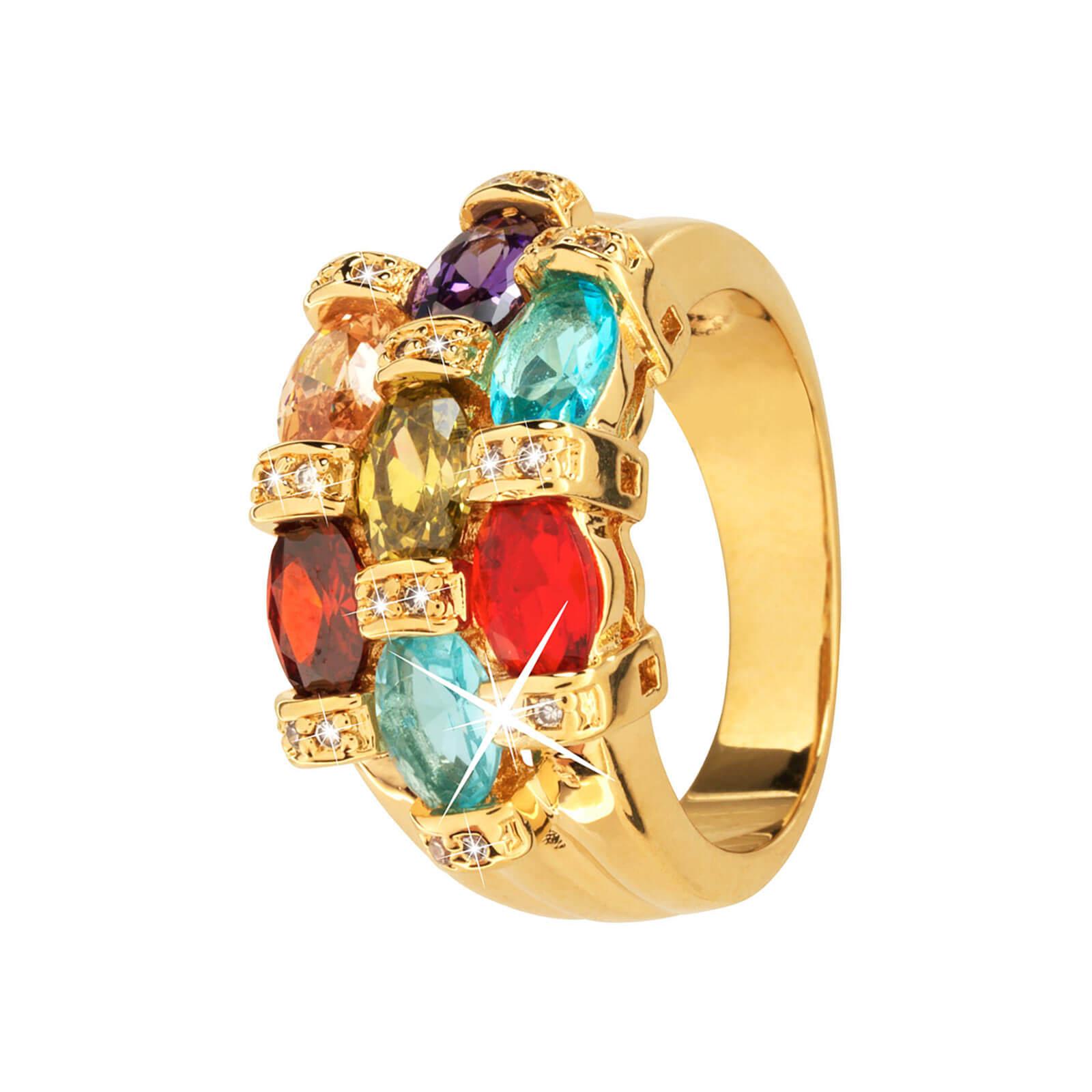 18k Guldpläterad ring med många multicolor Kubisk Zirkonia