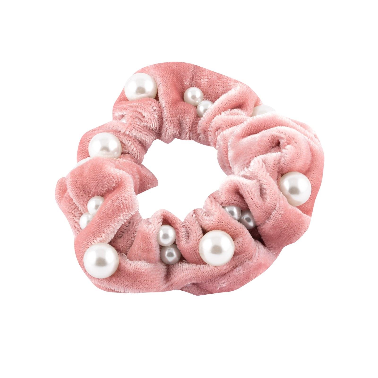 Scrunchie - rosa med pärlor