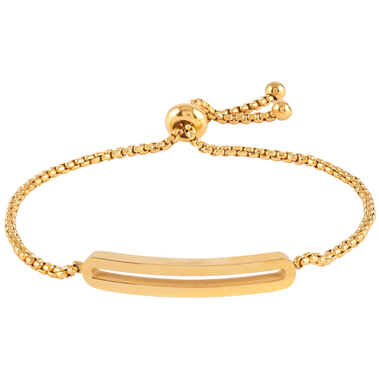 Armband stål, guldfärgad med slät bricka