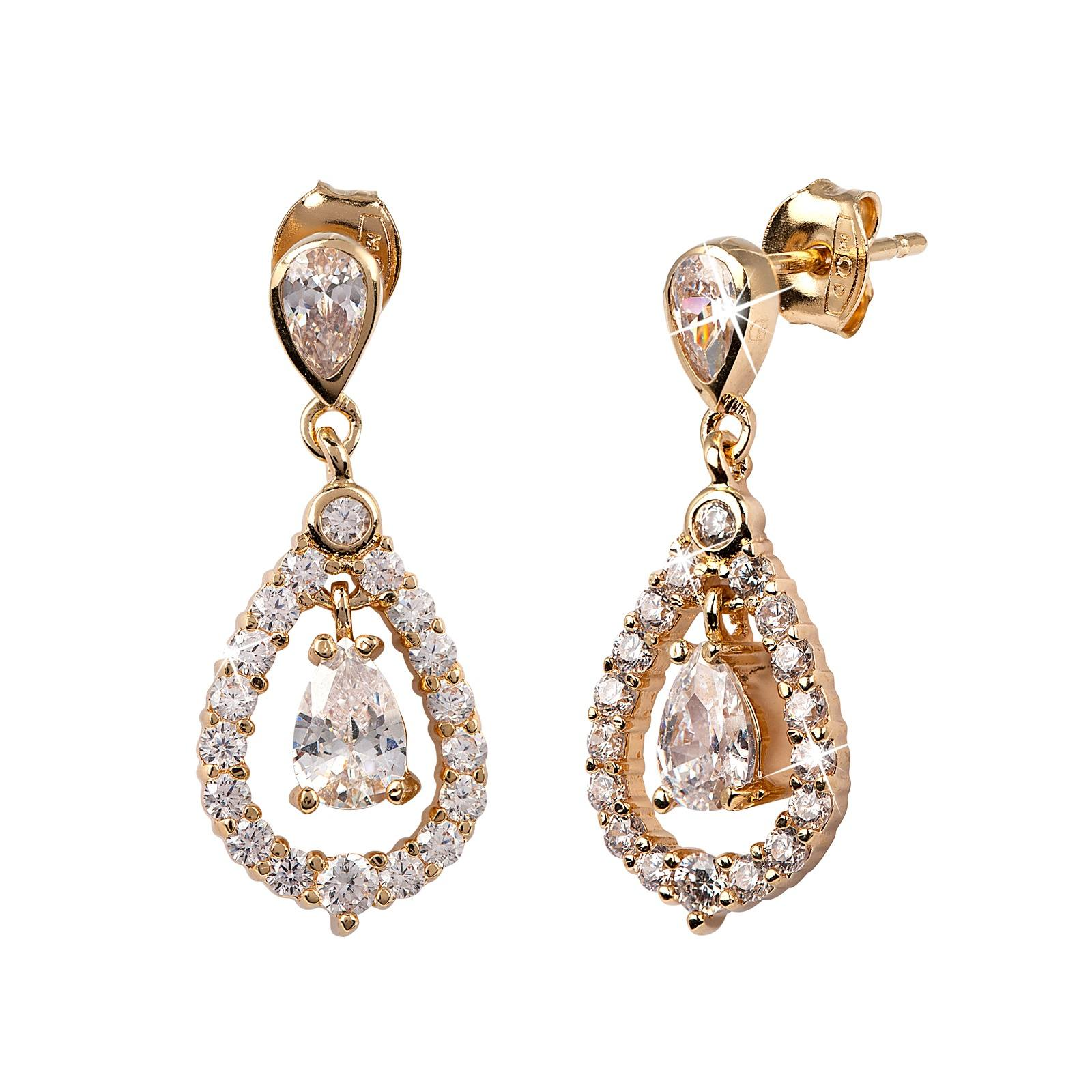 18k Guldpläterade örhängen med Kubisk Zirkonia - droppar