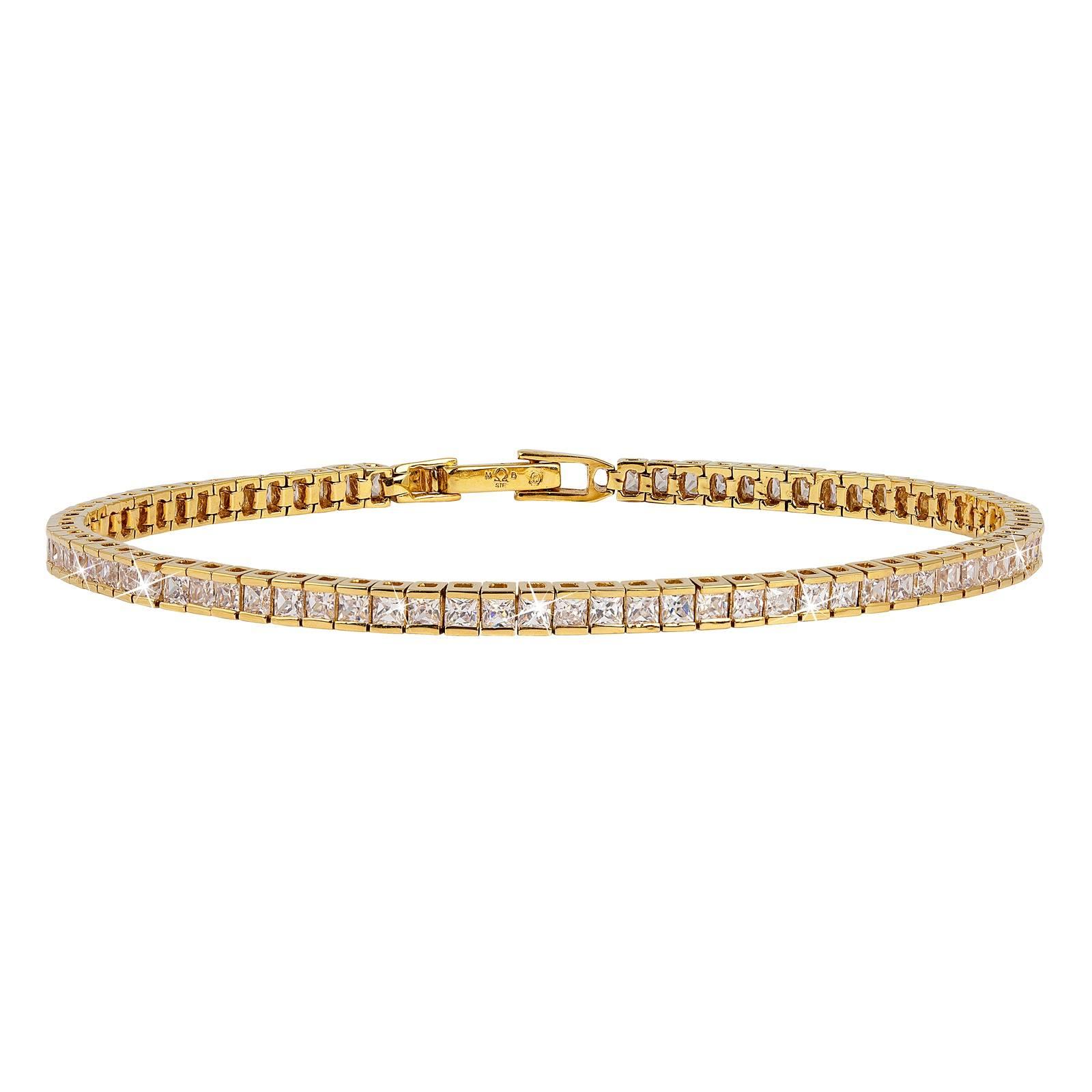 18K Guldpläterat Armband med Kubisk Zirkonia - 17,5 cm