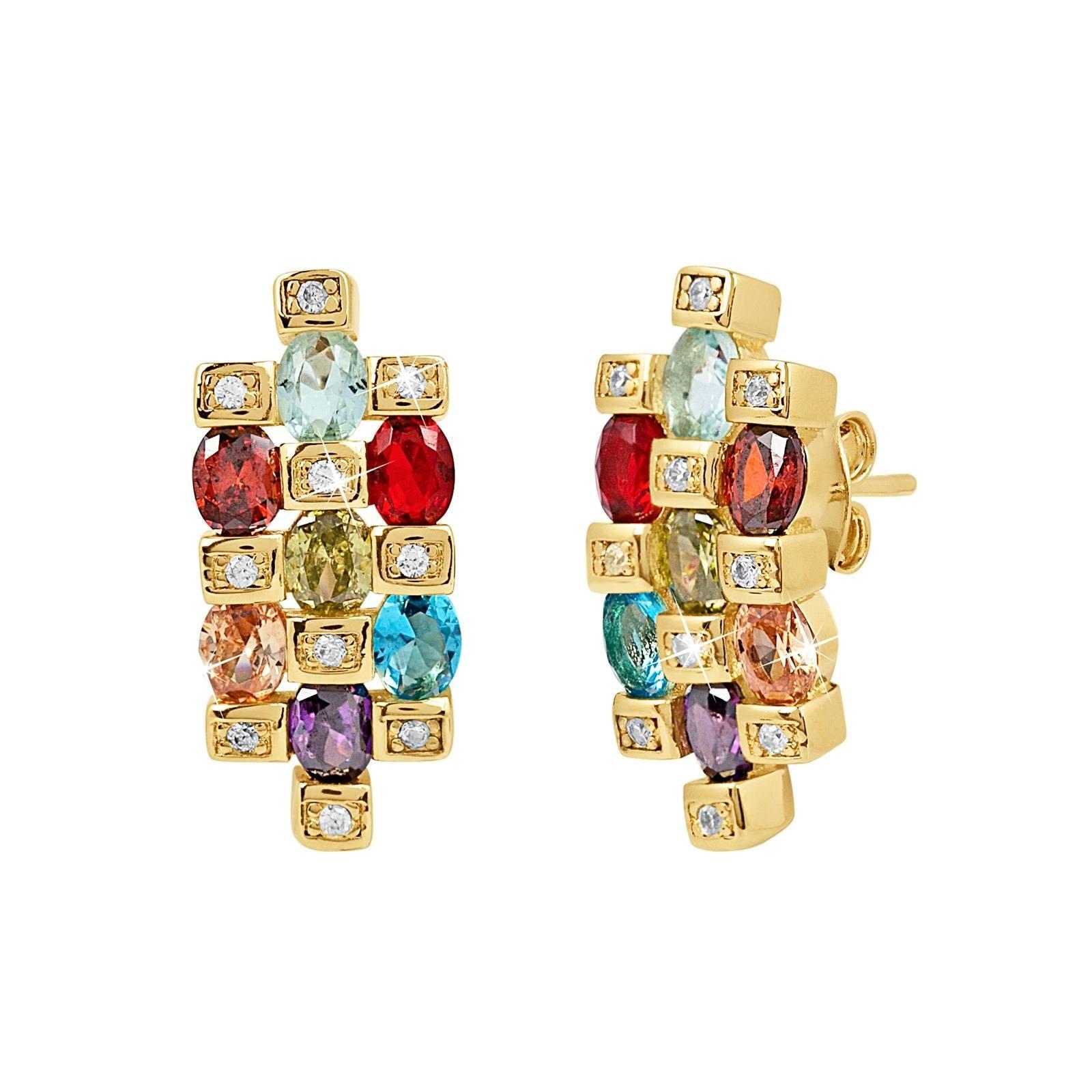 18k Guldpläterade örhängen med Kubisk Zirkonia - Multifärgade