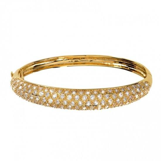 18K Guldpläterat Armband - Bangle med Kubisk Zirkonia