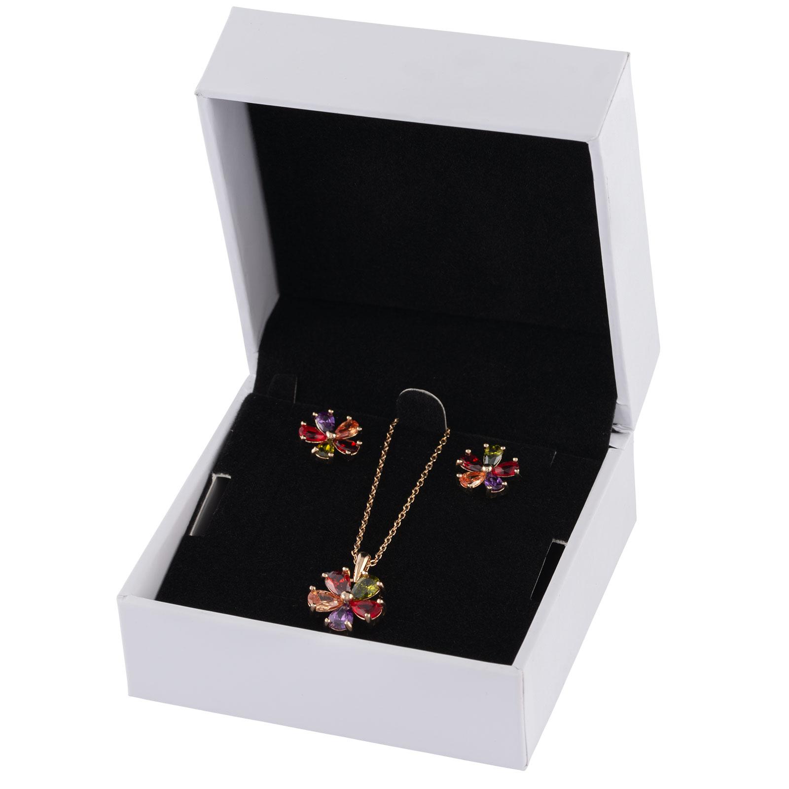 18k Guldpläterat set - örhängen och halsband