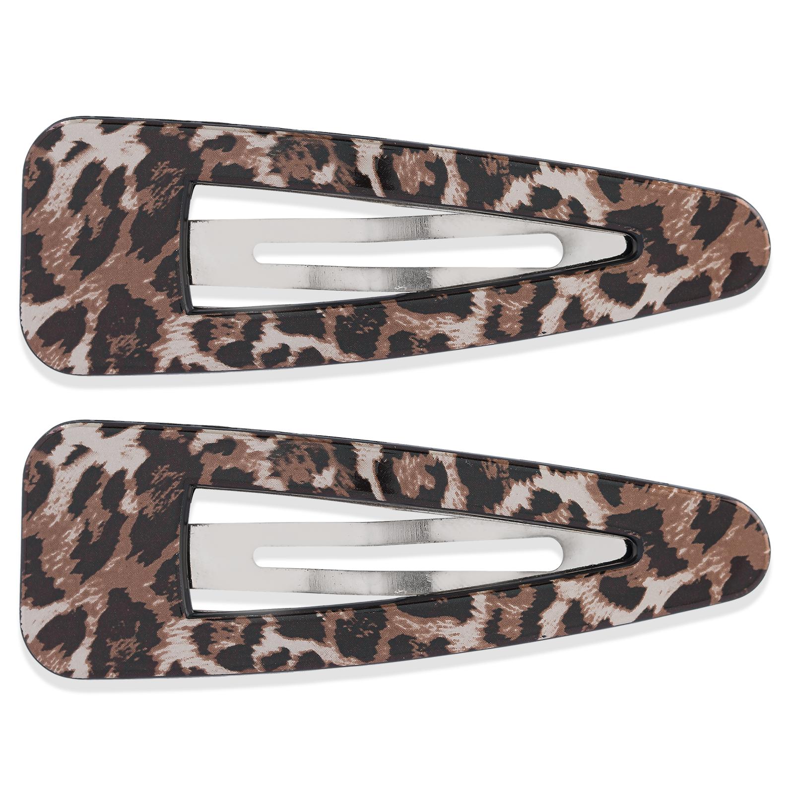 2-pack plasthårspännen Leopard