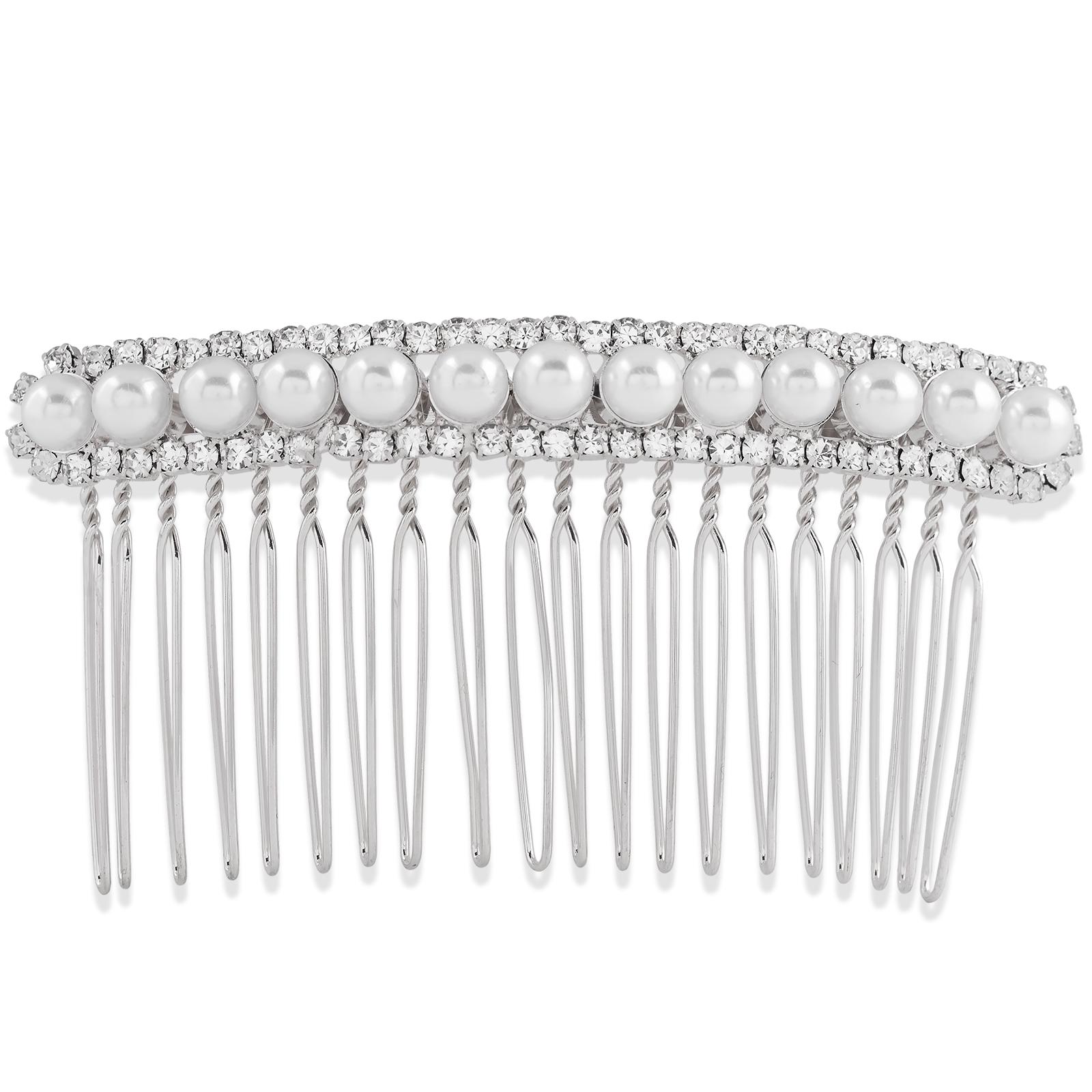 Dekorationskam med vita pärlor och strass