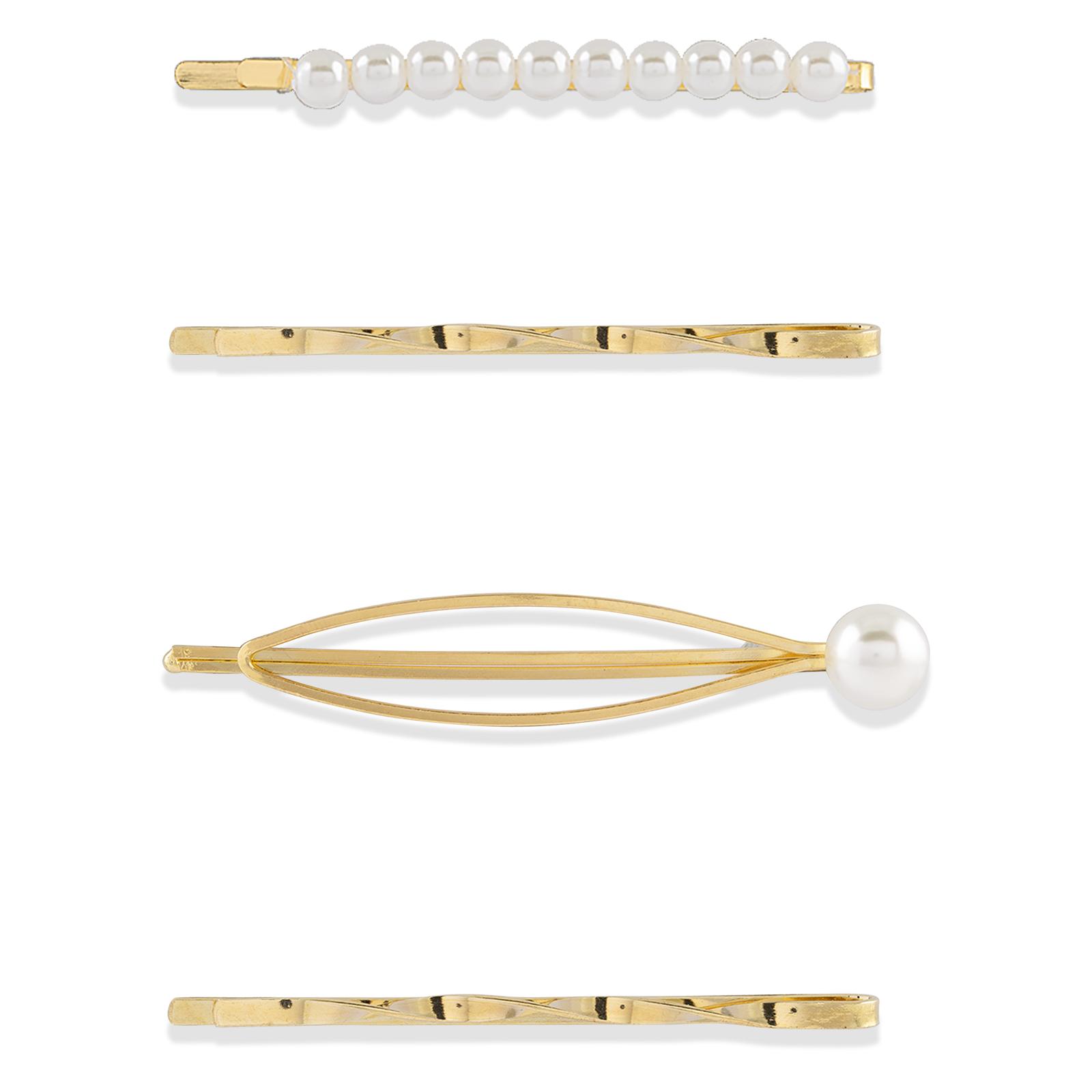 4-pack hårnålar guld med vita pärlor