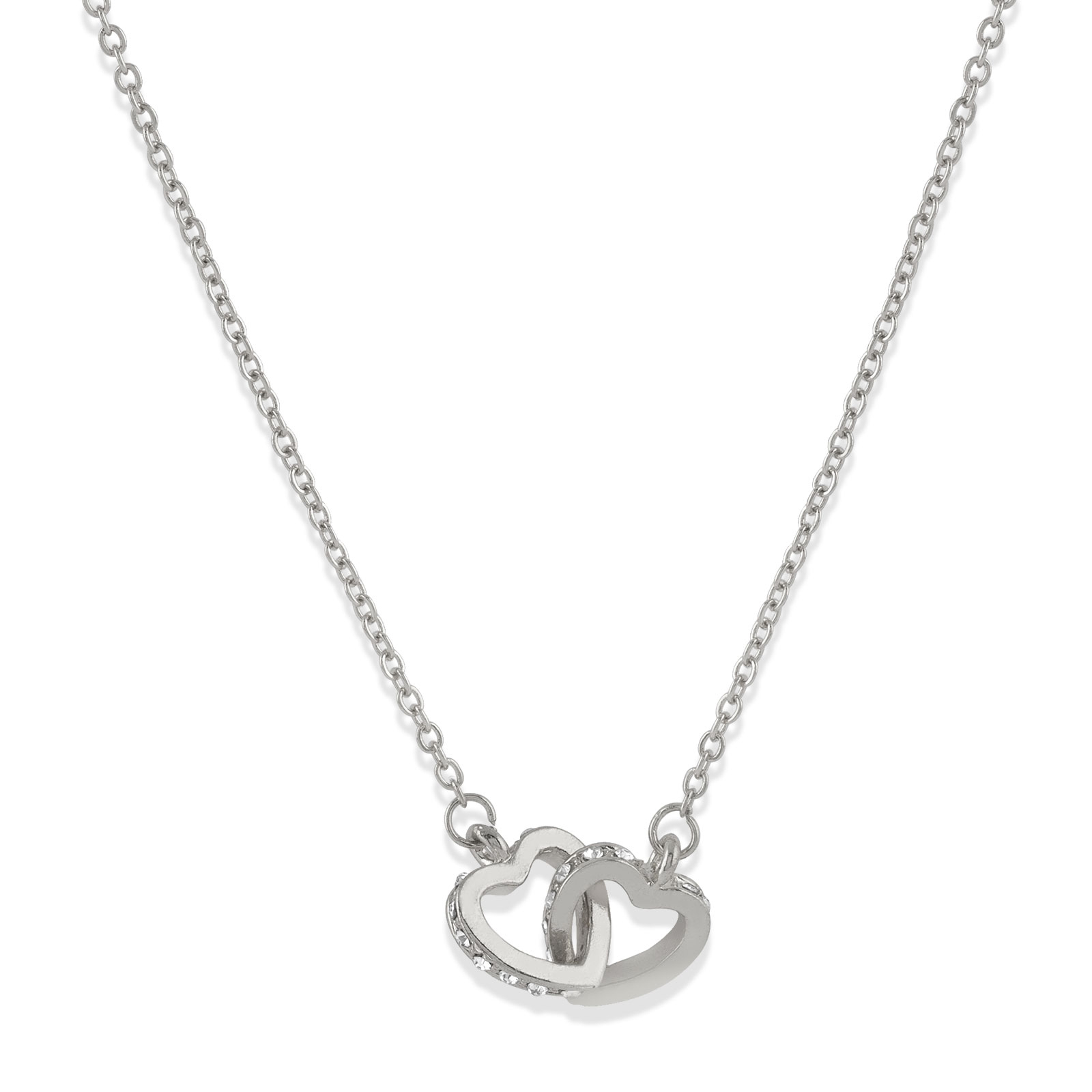 Halsband dubbla hjärtan silver Montini