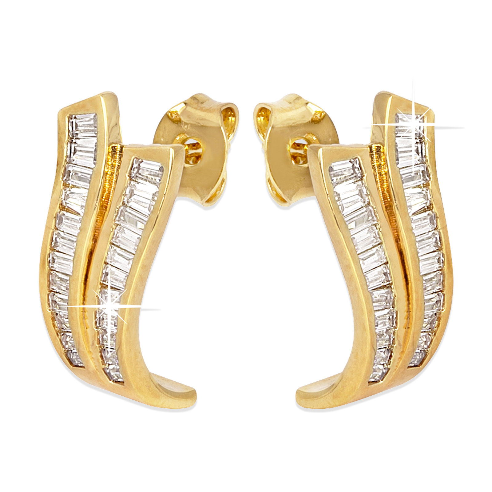 18k Guldpläterade örhängen med baguettformade Kubisk Zirkonia