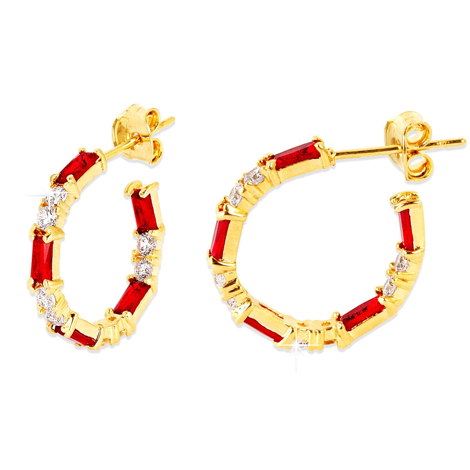 18k Guldpläterade örhängen - creoler med röd Kubisk Zirkonia