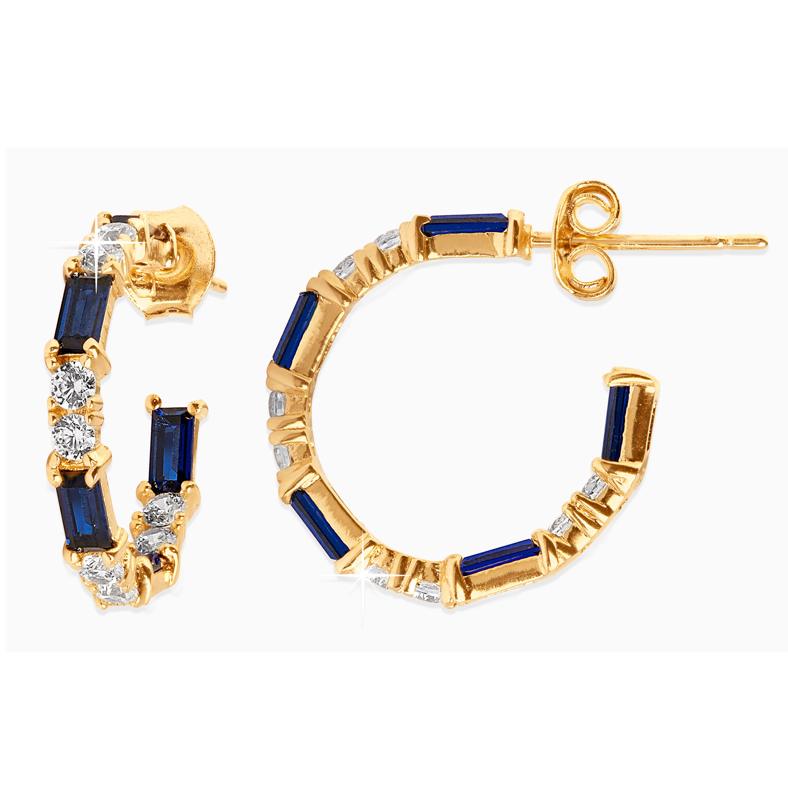 18k Guldpläterade örhängen - creoler med blå Kubisk Zirkonia