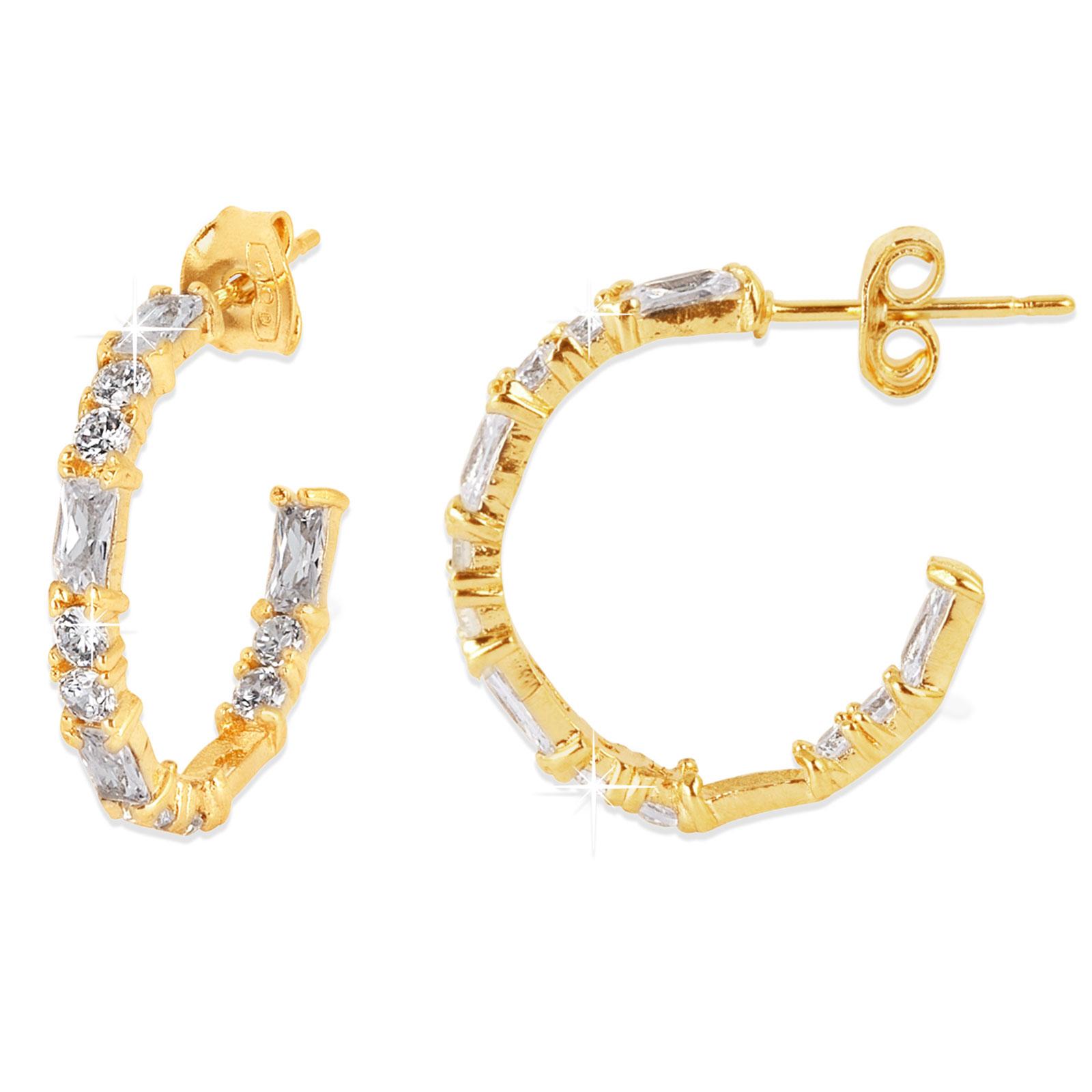 18k Guldpläterade örhängen - creoler med vit Kubisk Zirkonia