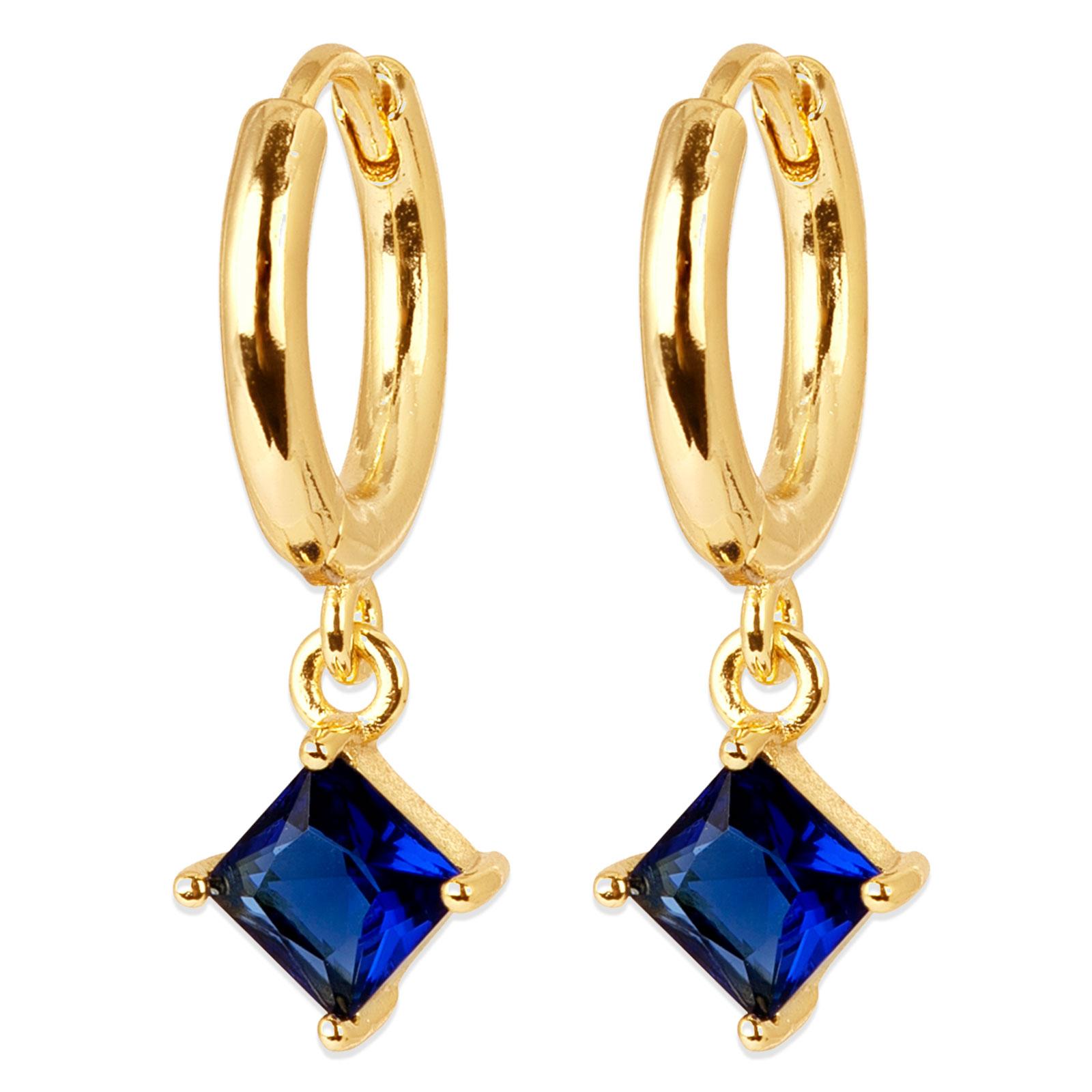 Guldpläterade örhängen - Creoler med blå fyrkant