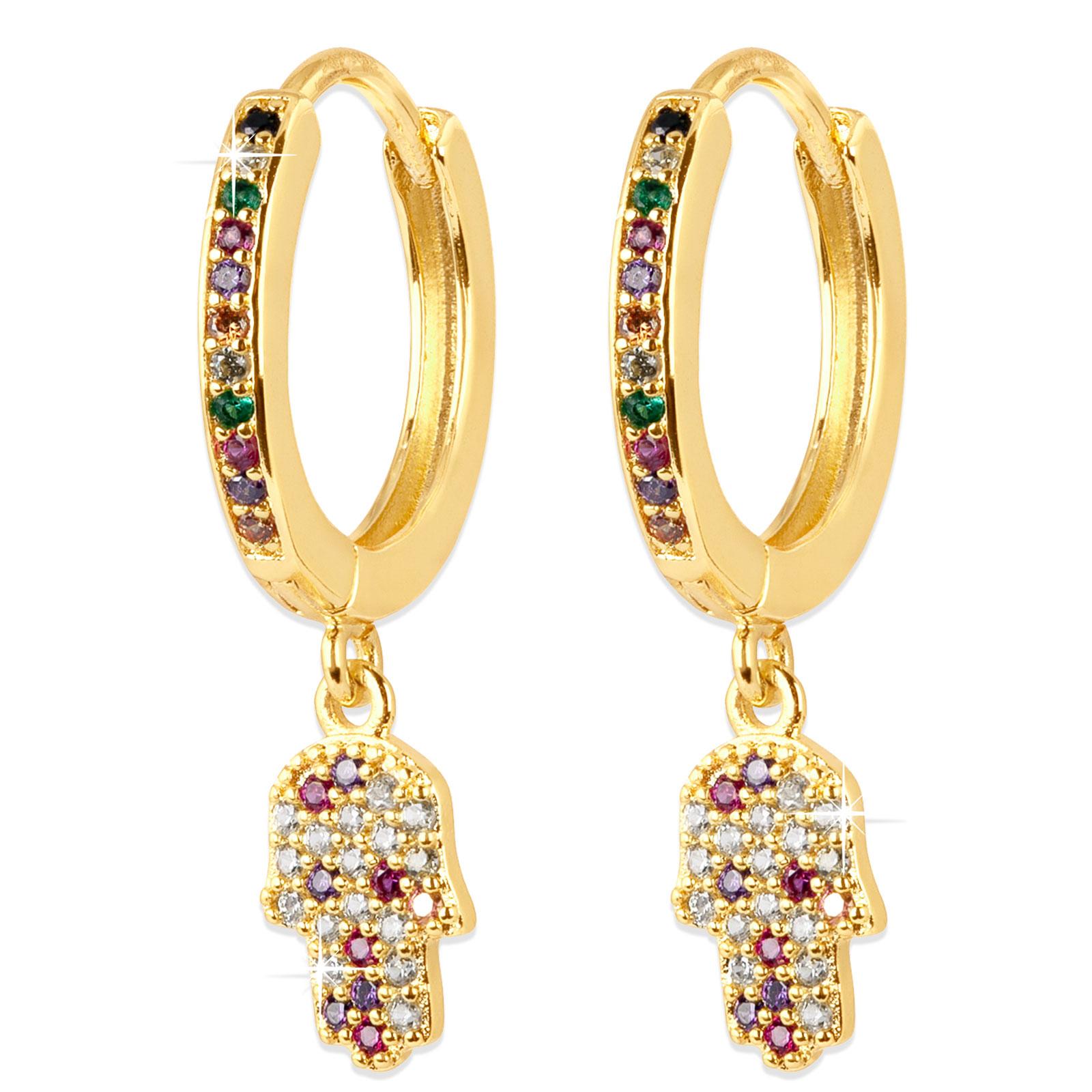 Guldpläterade örhängen - creoler med Fatimas hand