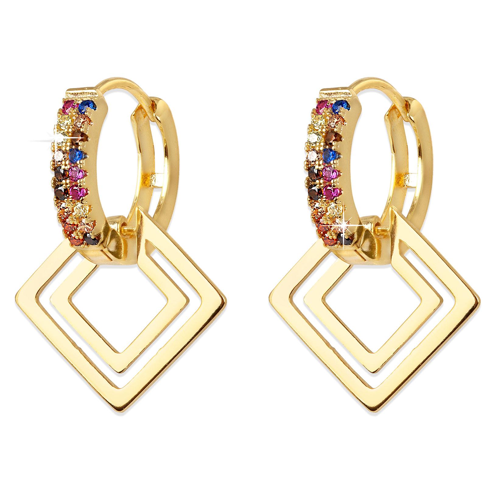 Guldpläterade örhängen - creoler med triangel