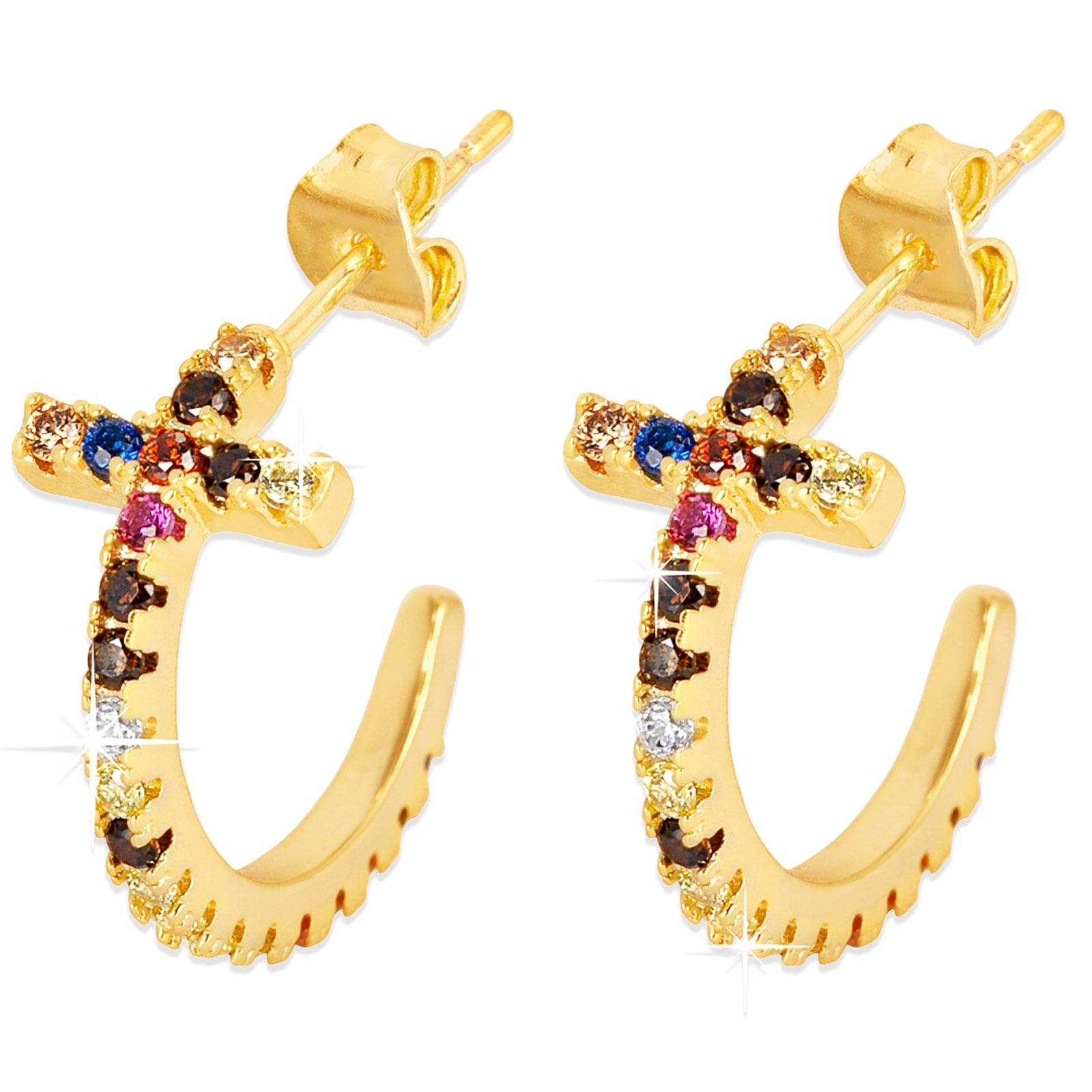 Guldpläterade örhängen - Halvcreoler multicolor