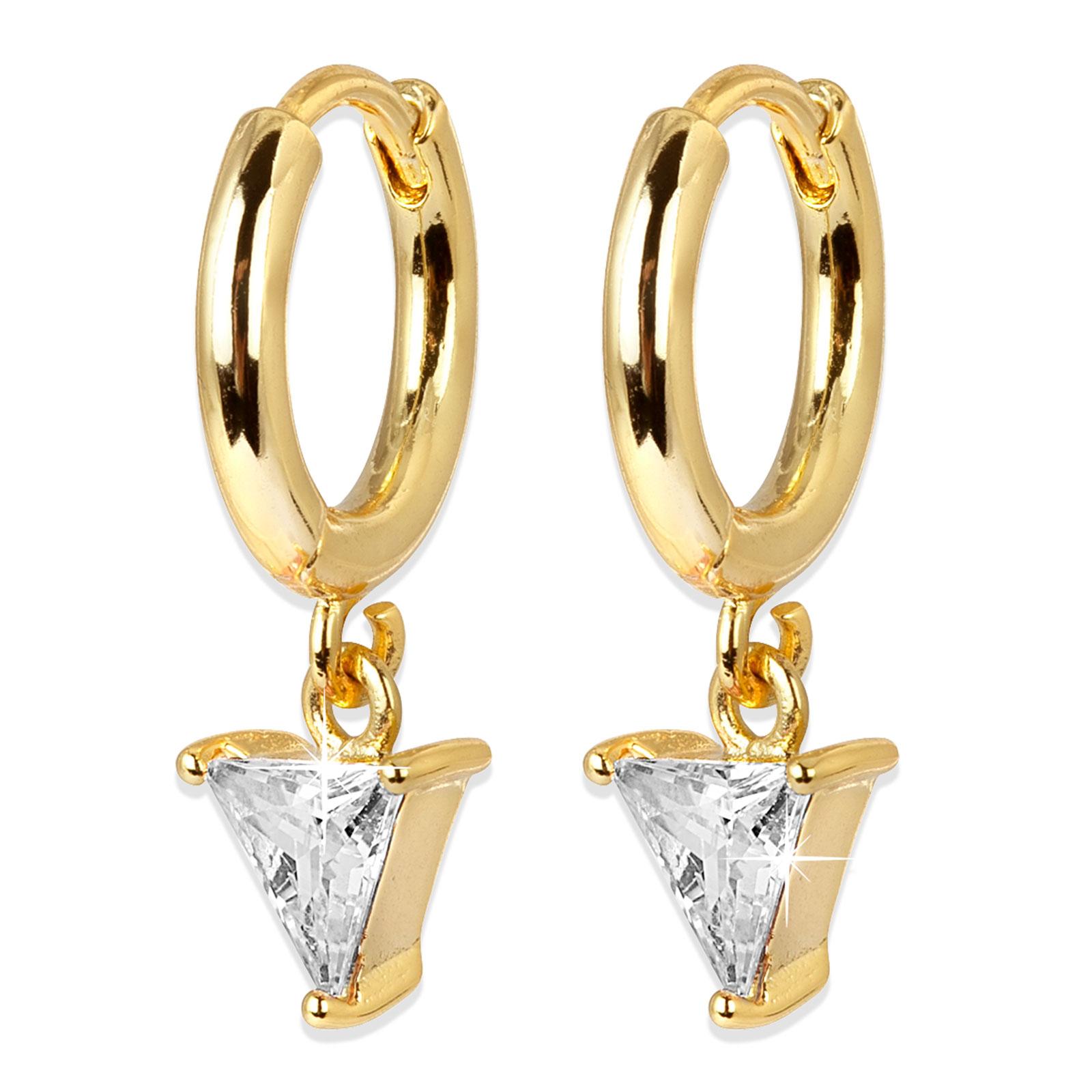 Guldpläterade örhängen - Creoler med vit triangel