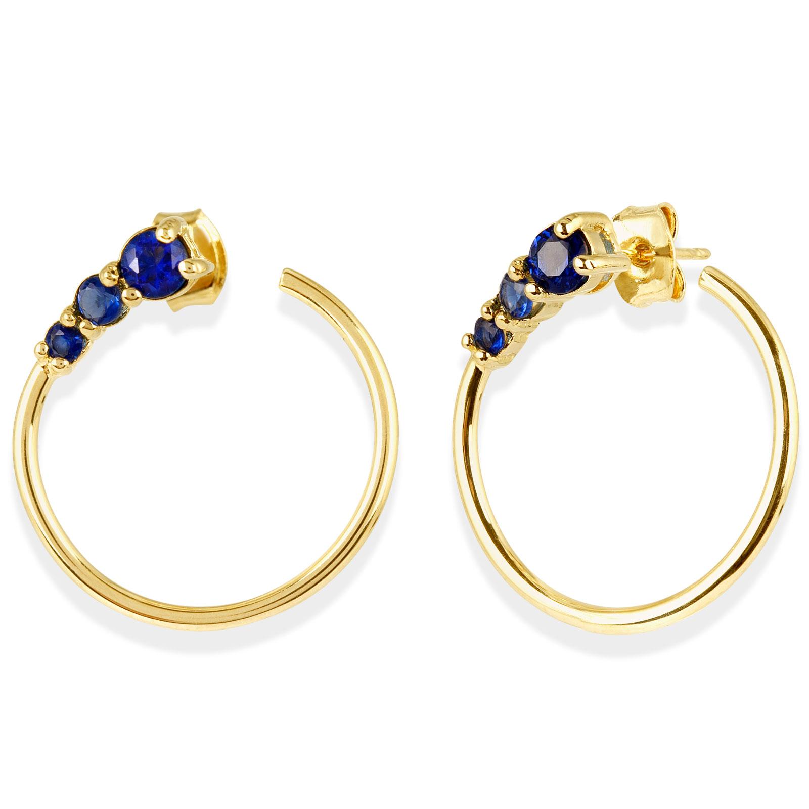 18k Guldpläterade örhängen - Blå Kubisk Zirkonia