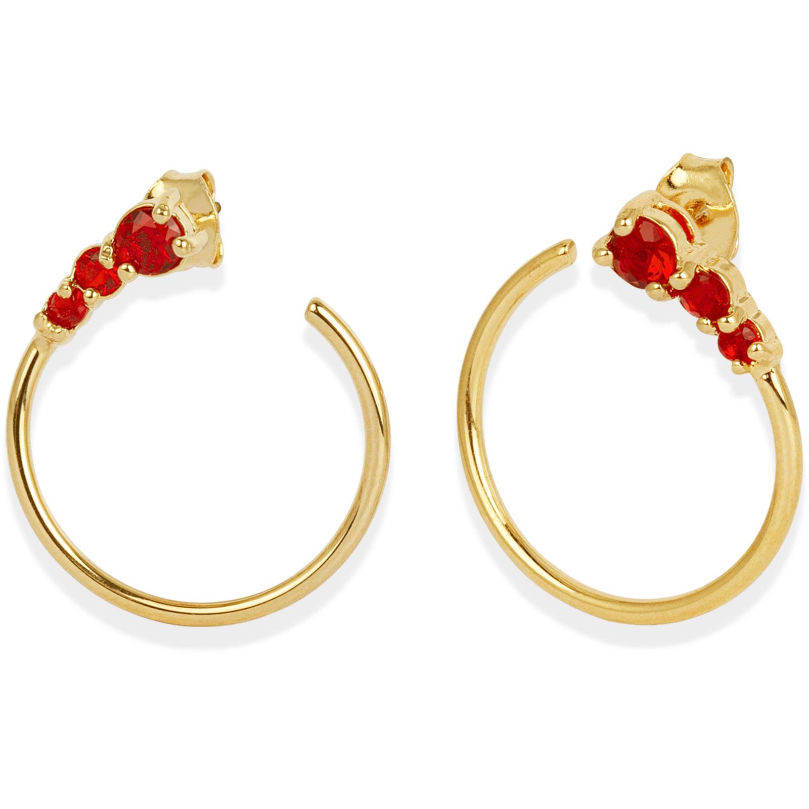 18k Guldpläterade örhängen - Röd Kubisk Zirkonia
