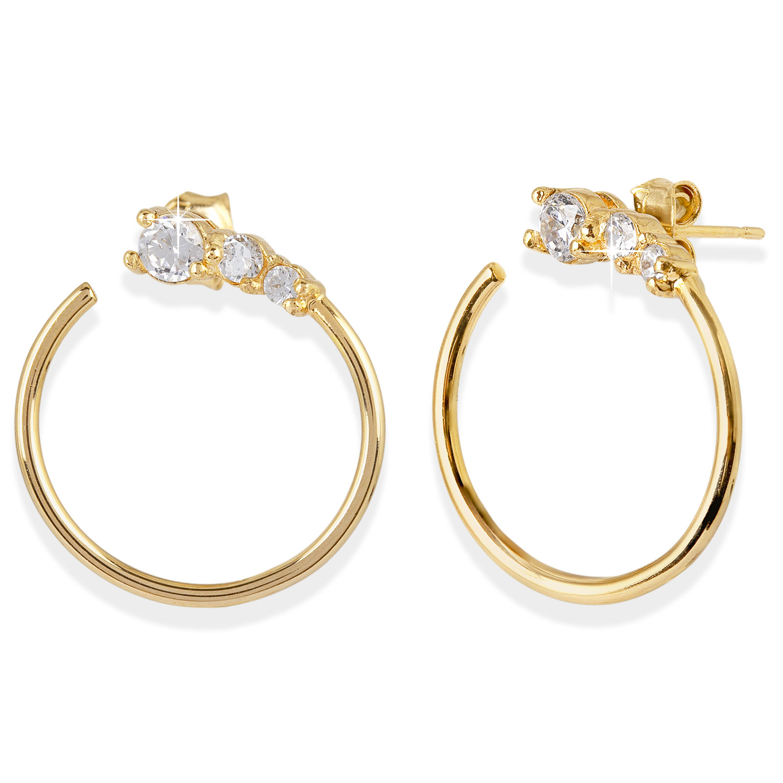 18K Guldpläterade örhängen - ringar med Kubisk Zirkonia