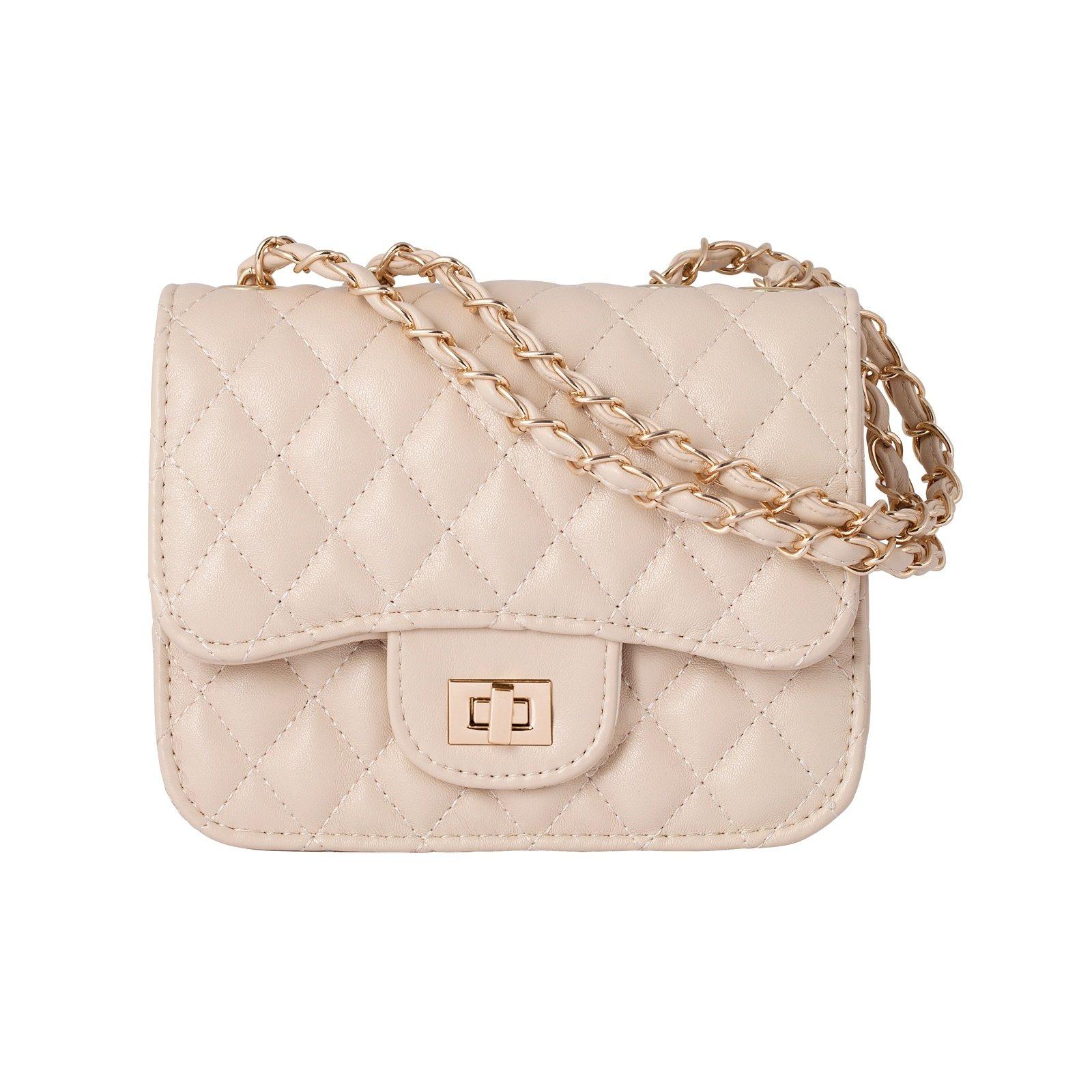 Mini Quiltad väska Beige