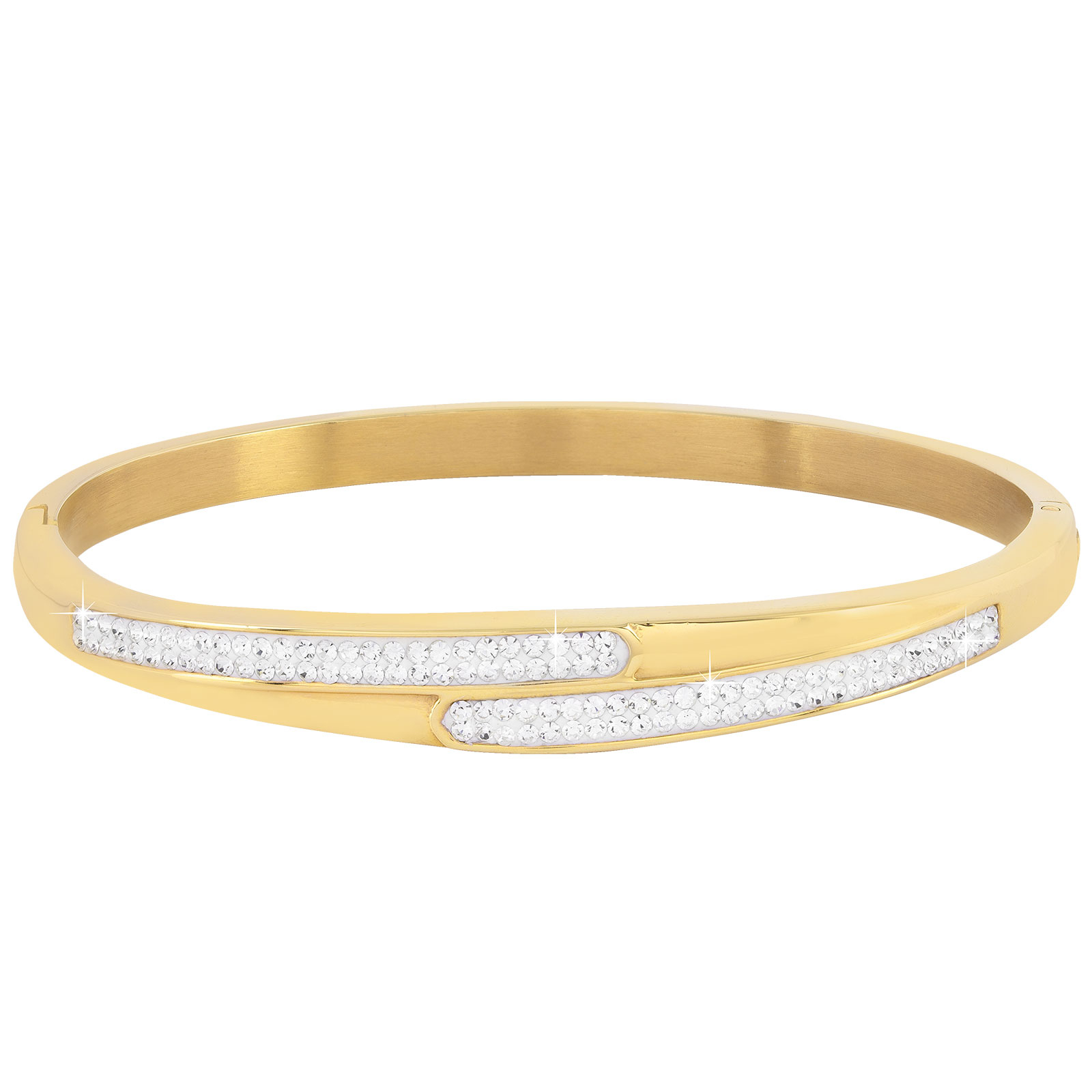 Armband stål, guldfärgad bangle med vita stenar