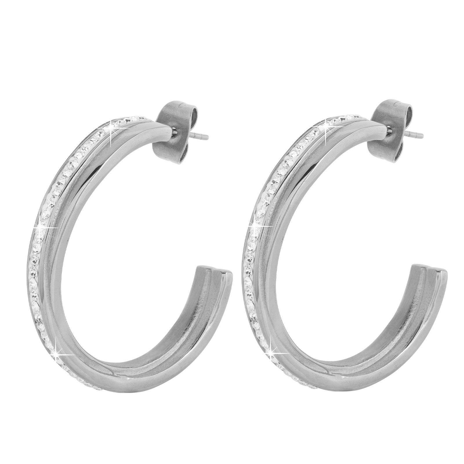 Örhängen stål - creoler med vita stenar