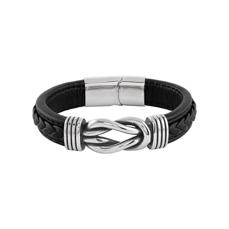 Armband herr - stål och svart läder