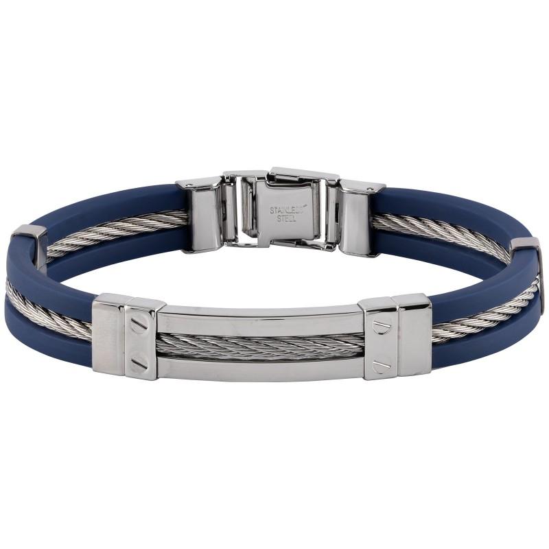 Armband herr - stål och blått gummi