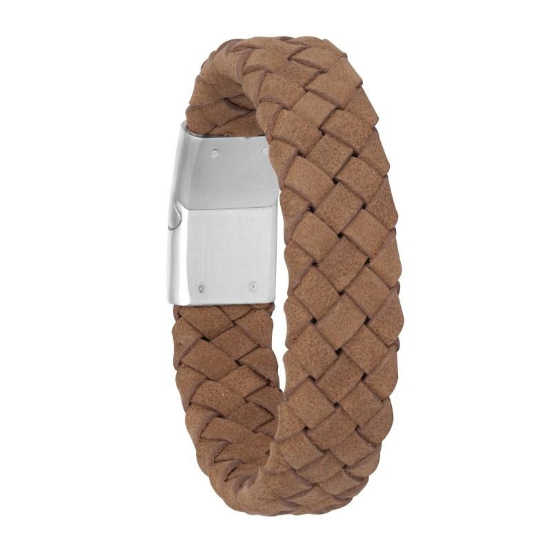 Armband i brunt flätat läder och stål - Herr