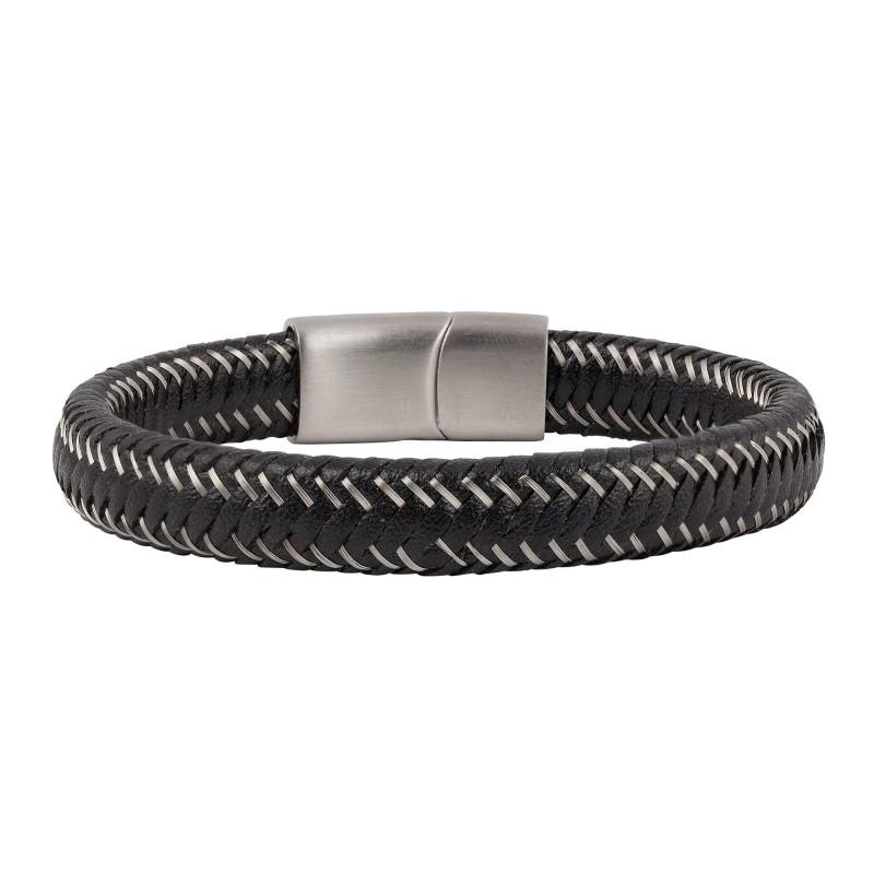 Armband i svart läder och ståltråd - Herr