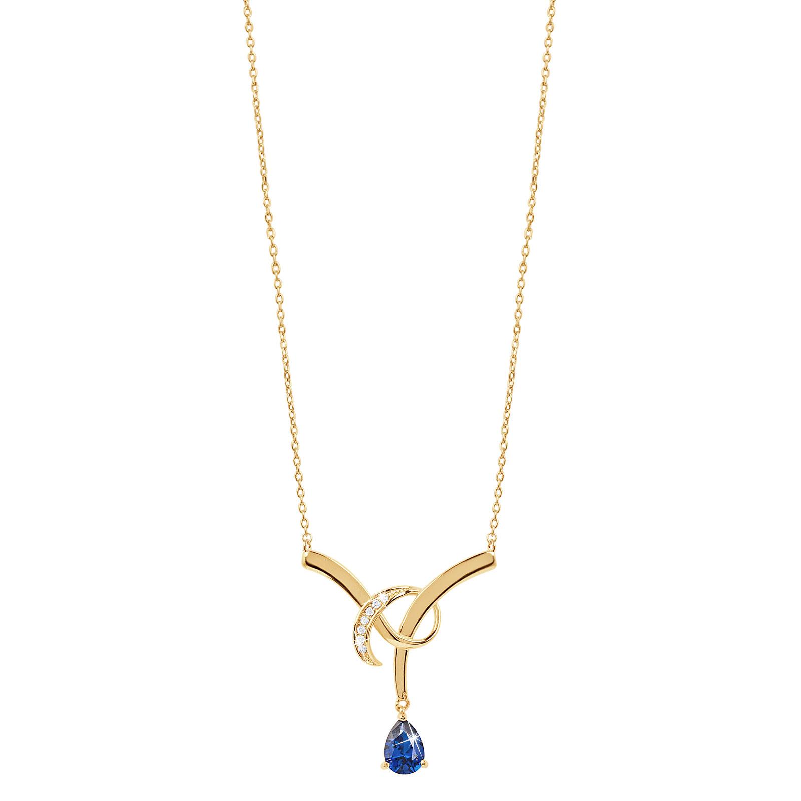 18K Guldpläterat Halsband med blå droppe Kubisk Zirkonia